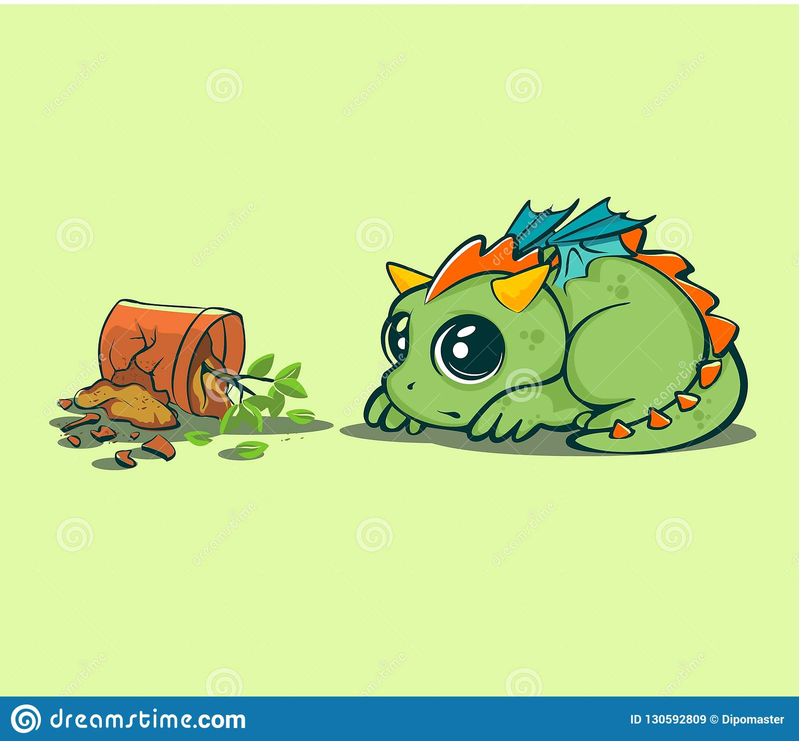 Cute Baby Dragon Animated Character For Various Design Stock