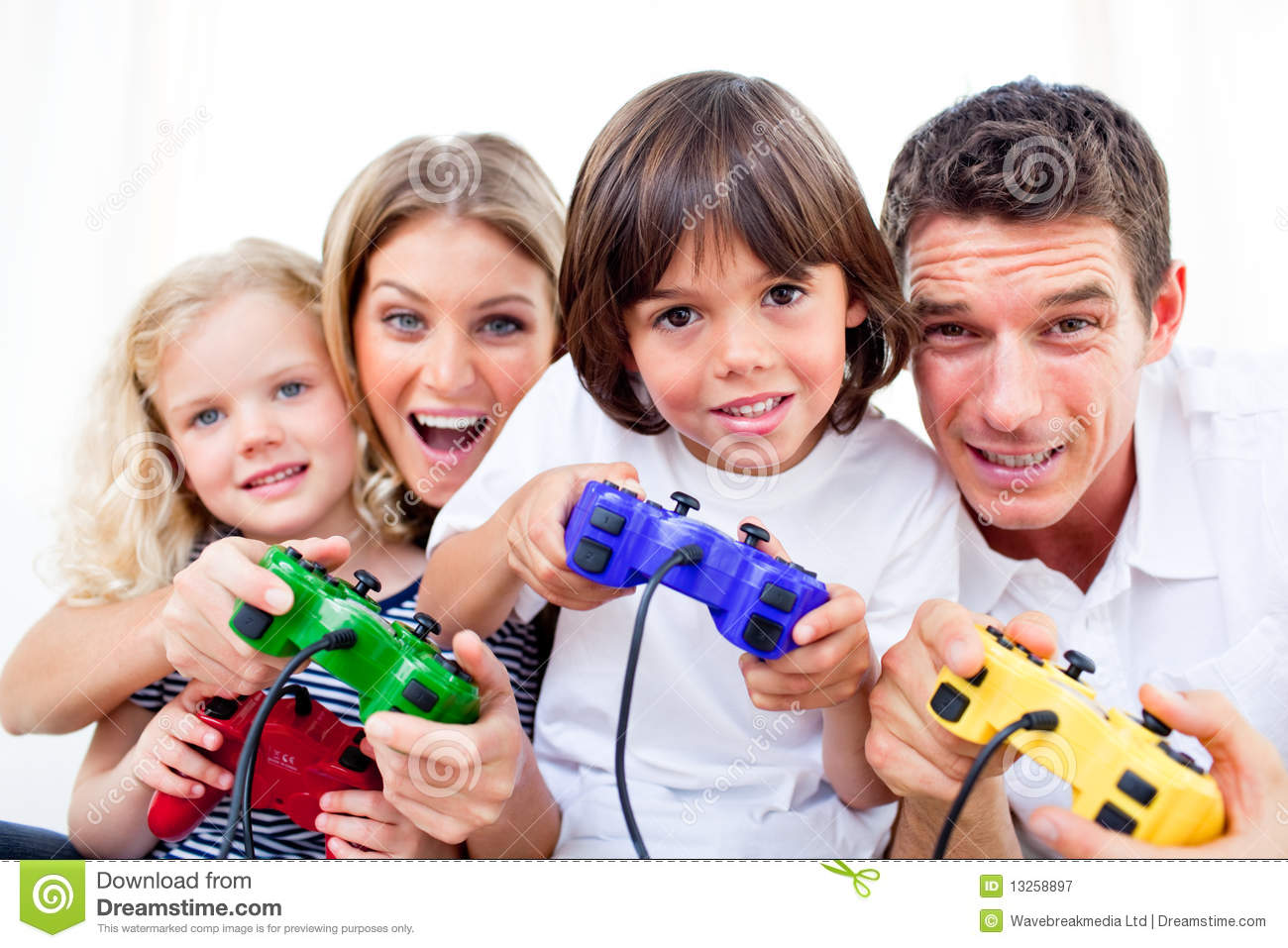 Animated family playing video game