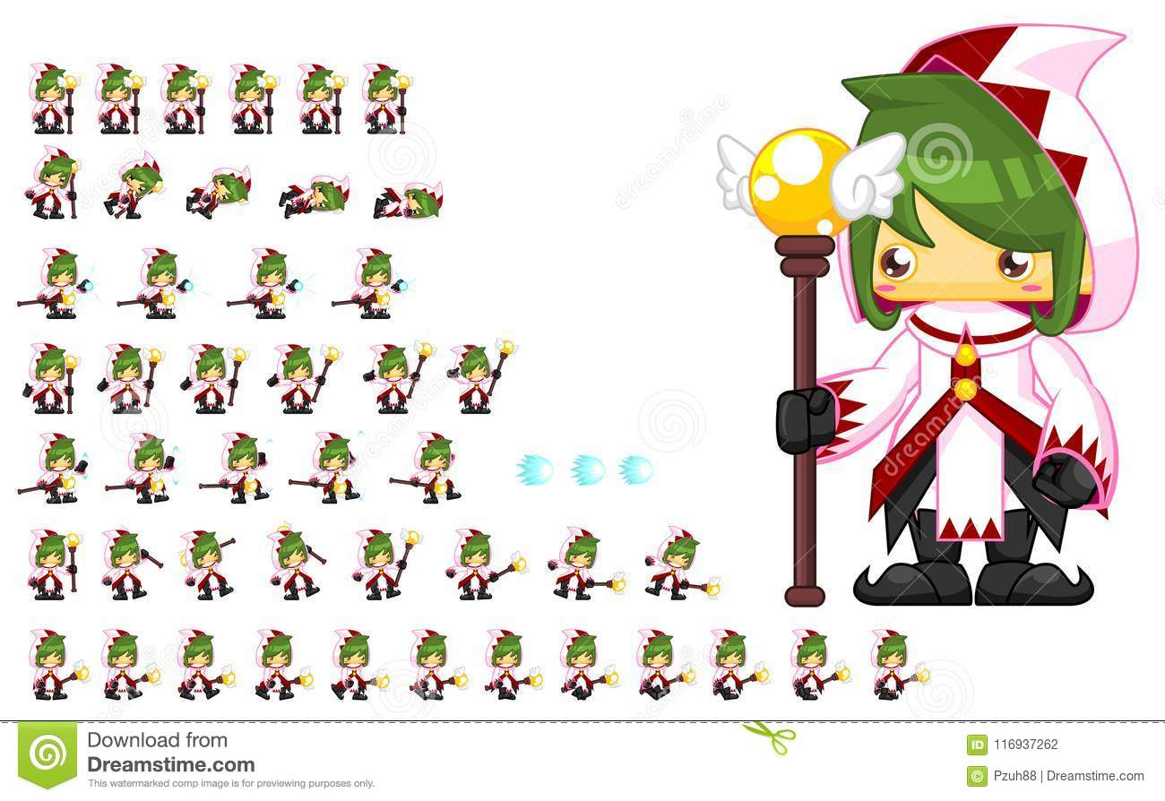Animated Mage Character Sprites Stock Vector - Illustration