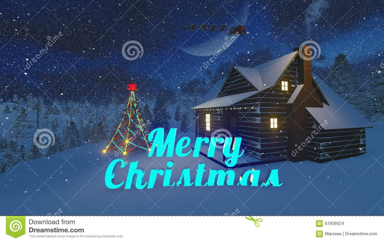 animated merry christmas text in a night forest stock footage video of moon glowing 61606624