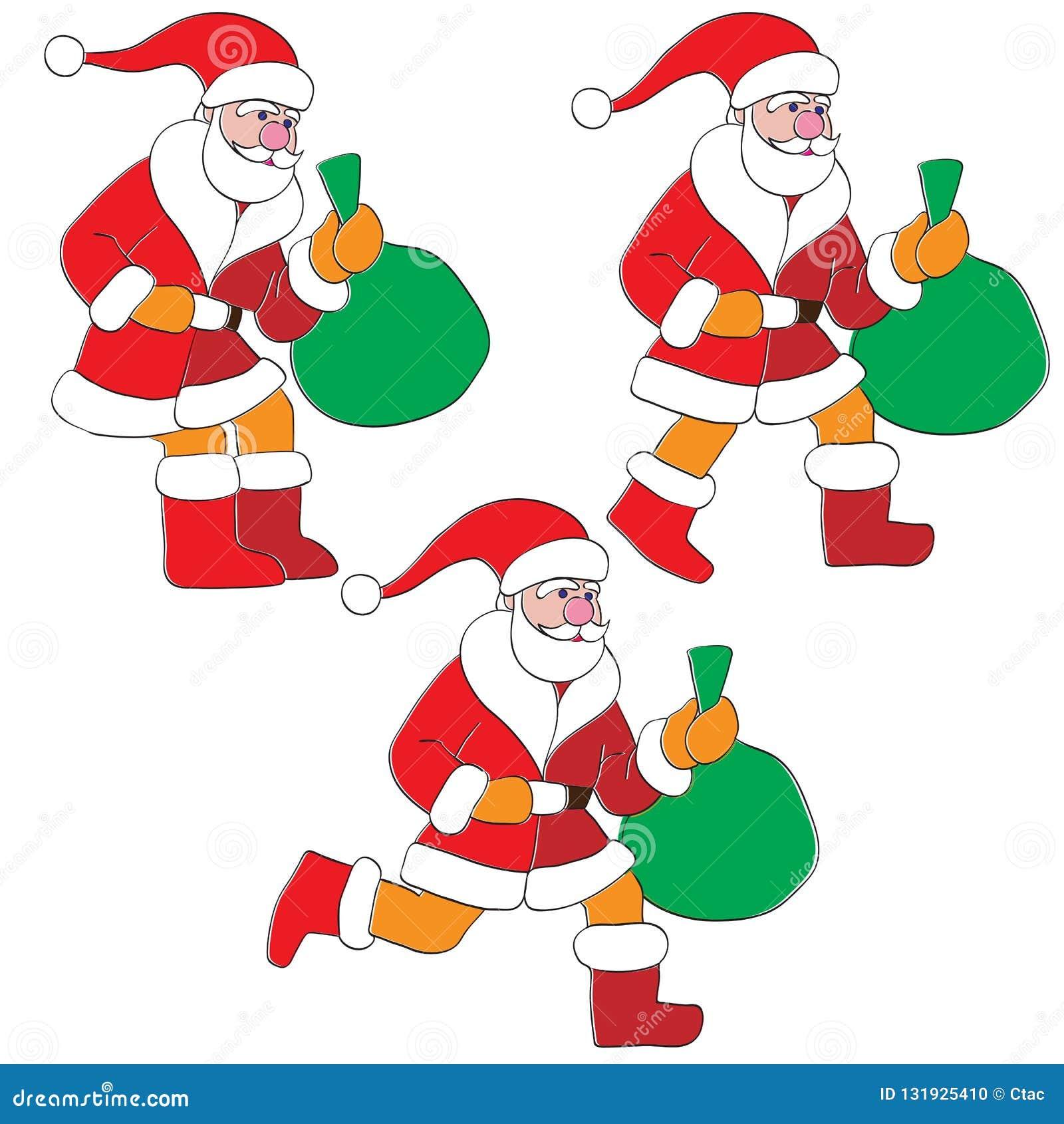 Animated santa stock vector. Illustration of sack, boots - 131925410