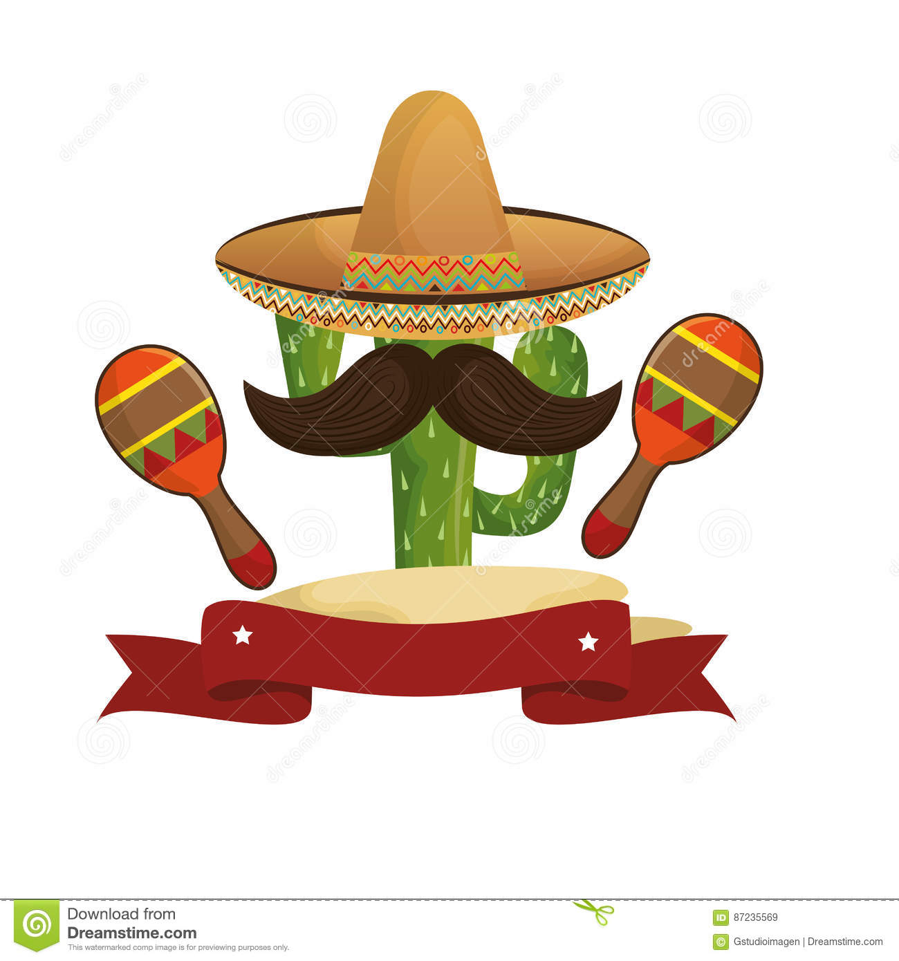 Animated sketch cactus with mexican hat and moustache with maraca