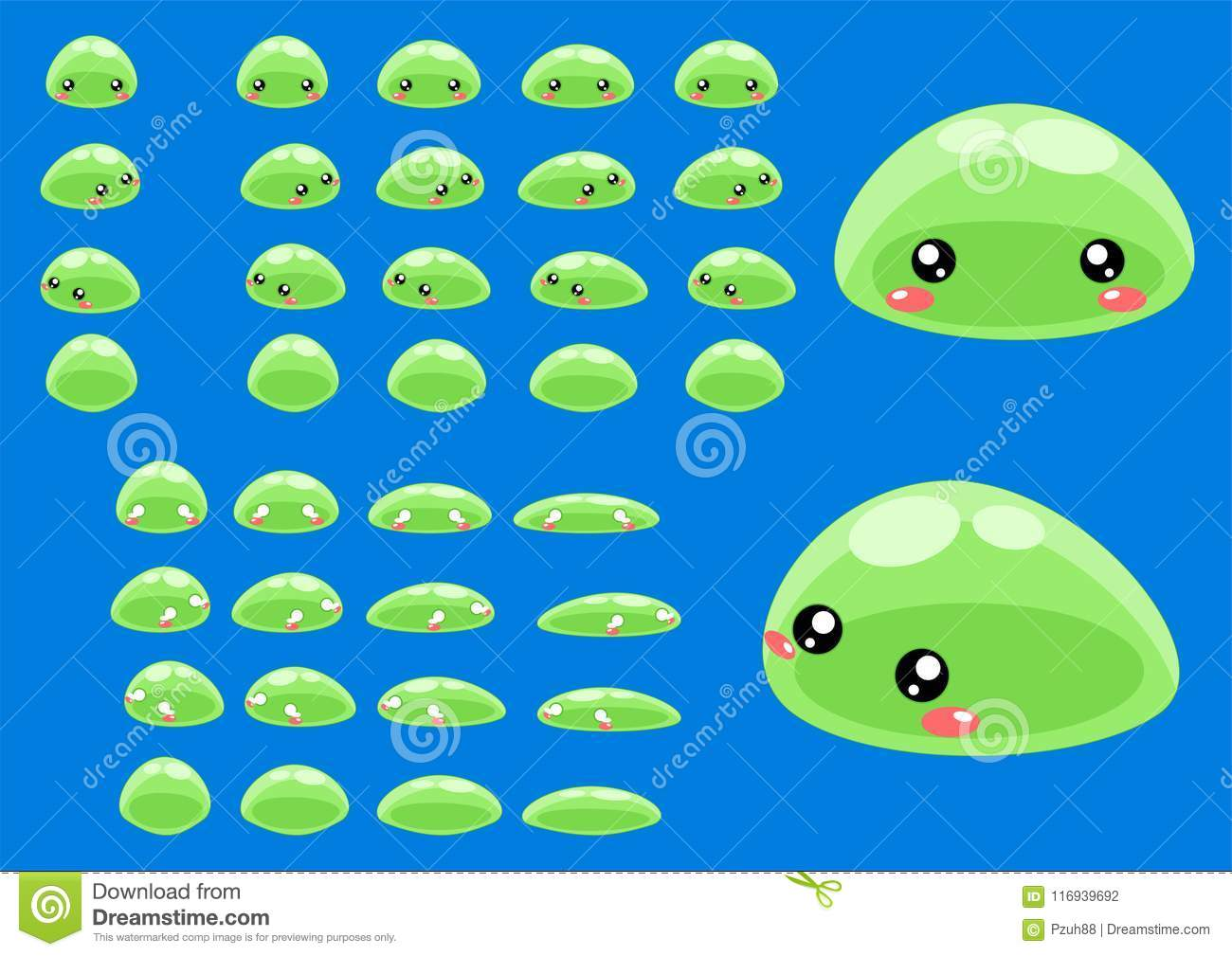 Animated Slime Character Sprites Stock Vector - Illustration of