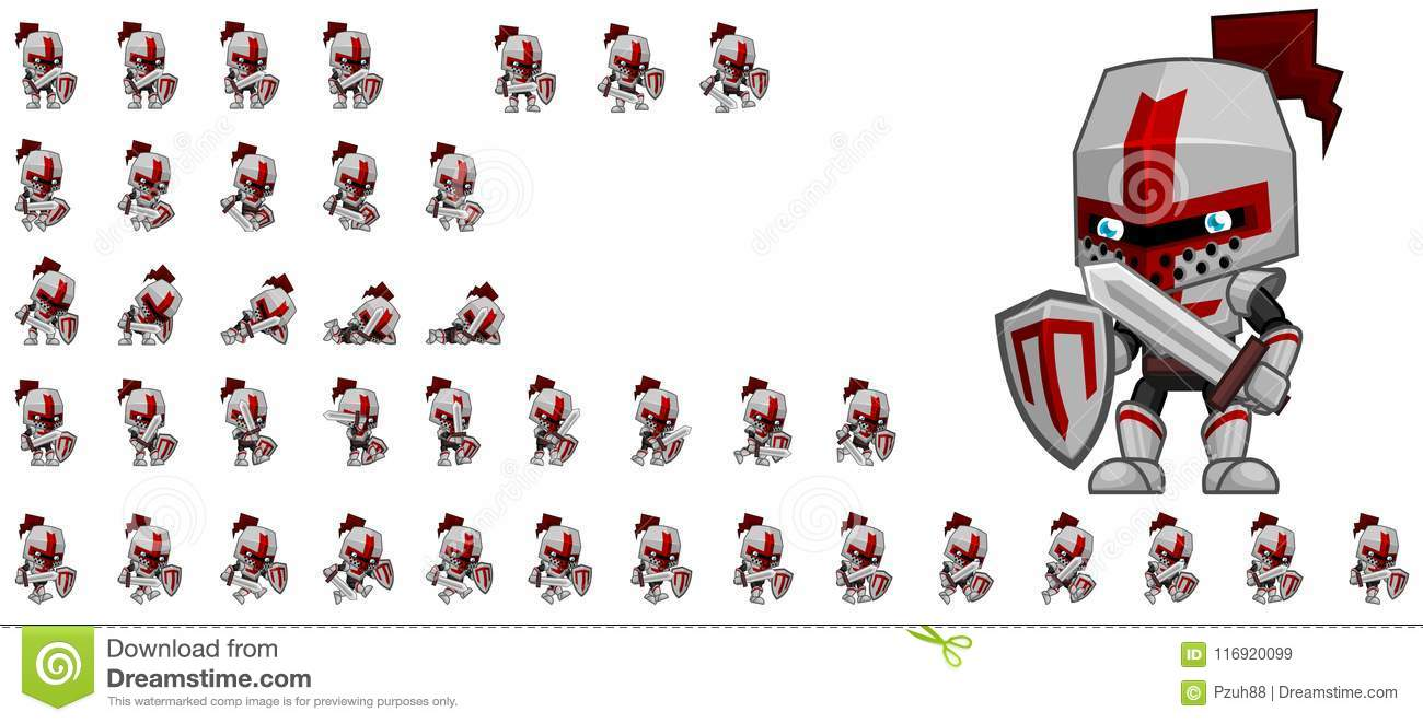 Cute Knight Character Sprites Stock Vector - Illustration of