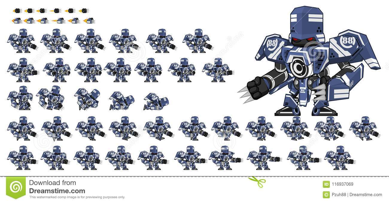 Animated Robot Character Sprites Stock Vector - Illustration