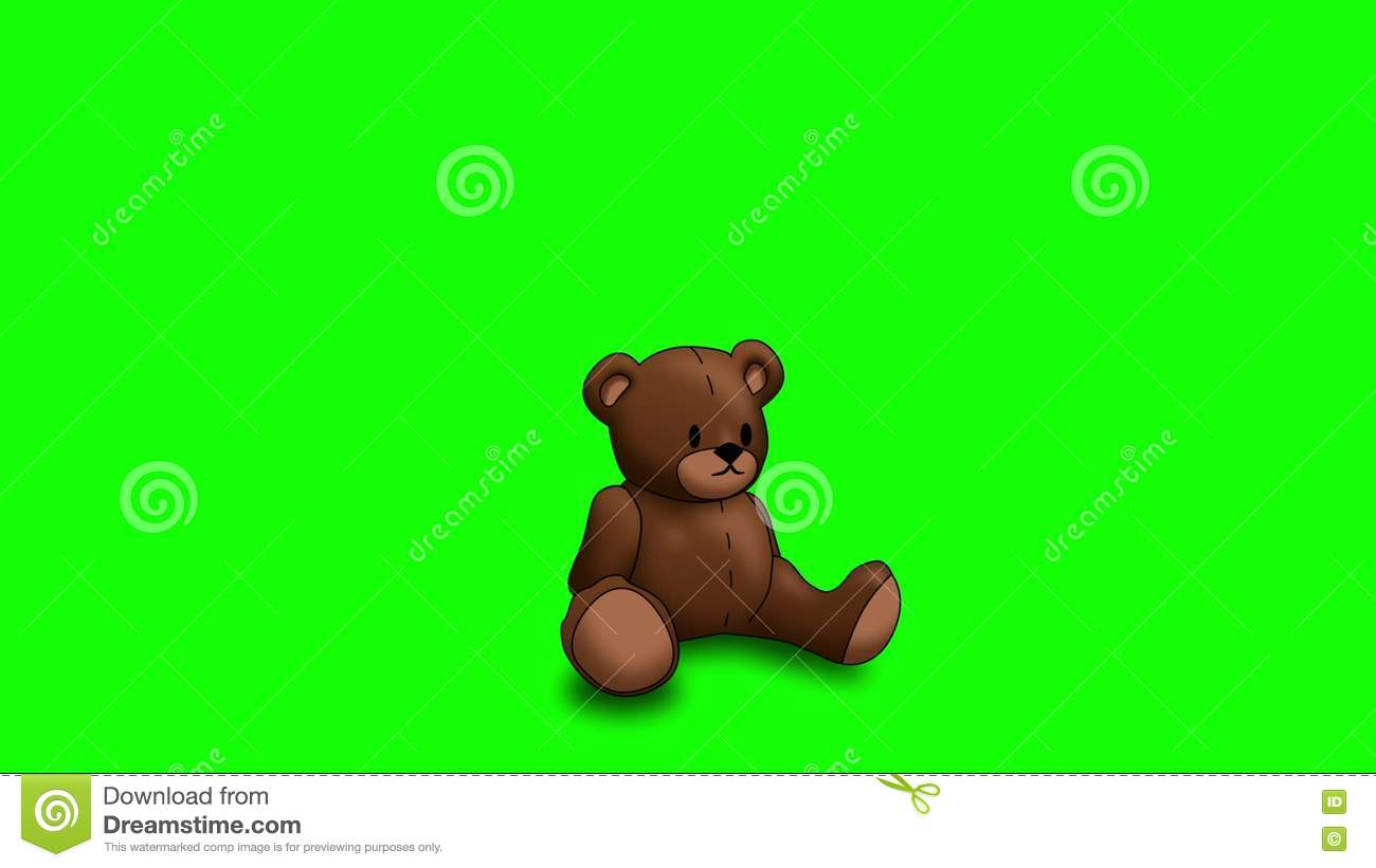 Animated Teddy Bear On Green Screen Stock Footage - Video of green