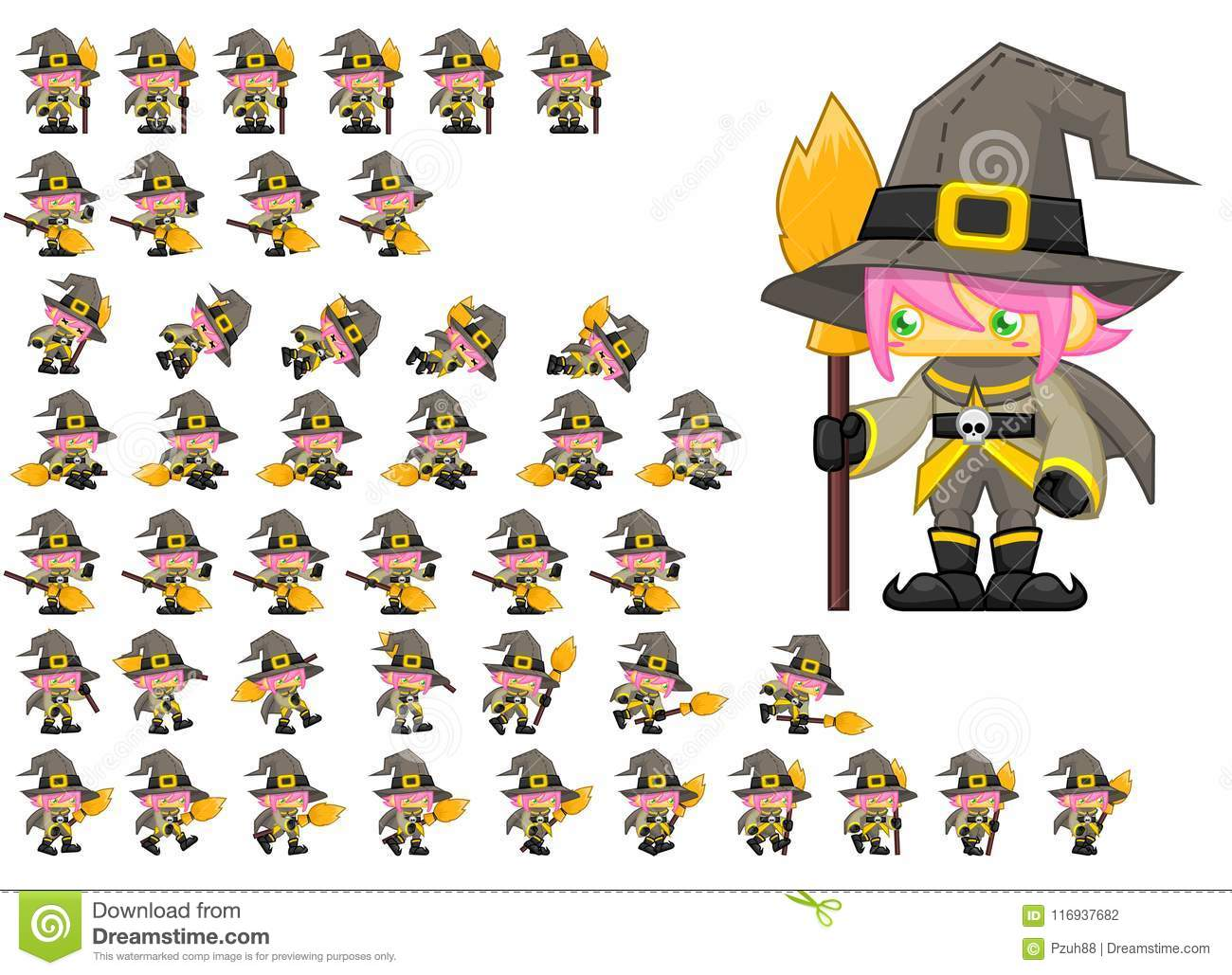 Animated Witch Character Sprites Stock Vector - Illustration