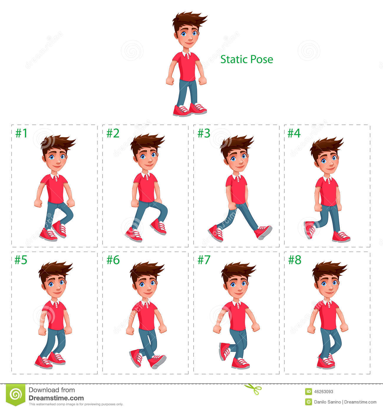 Animation of boy walking. stock vector. Illustration of walk - 46263093