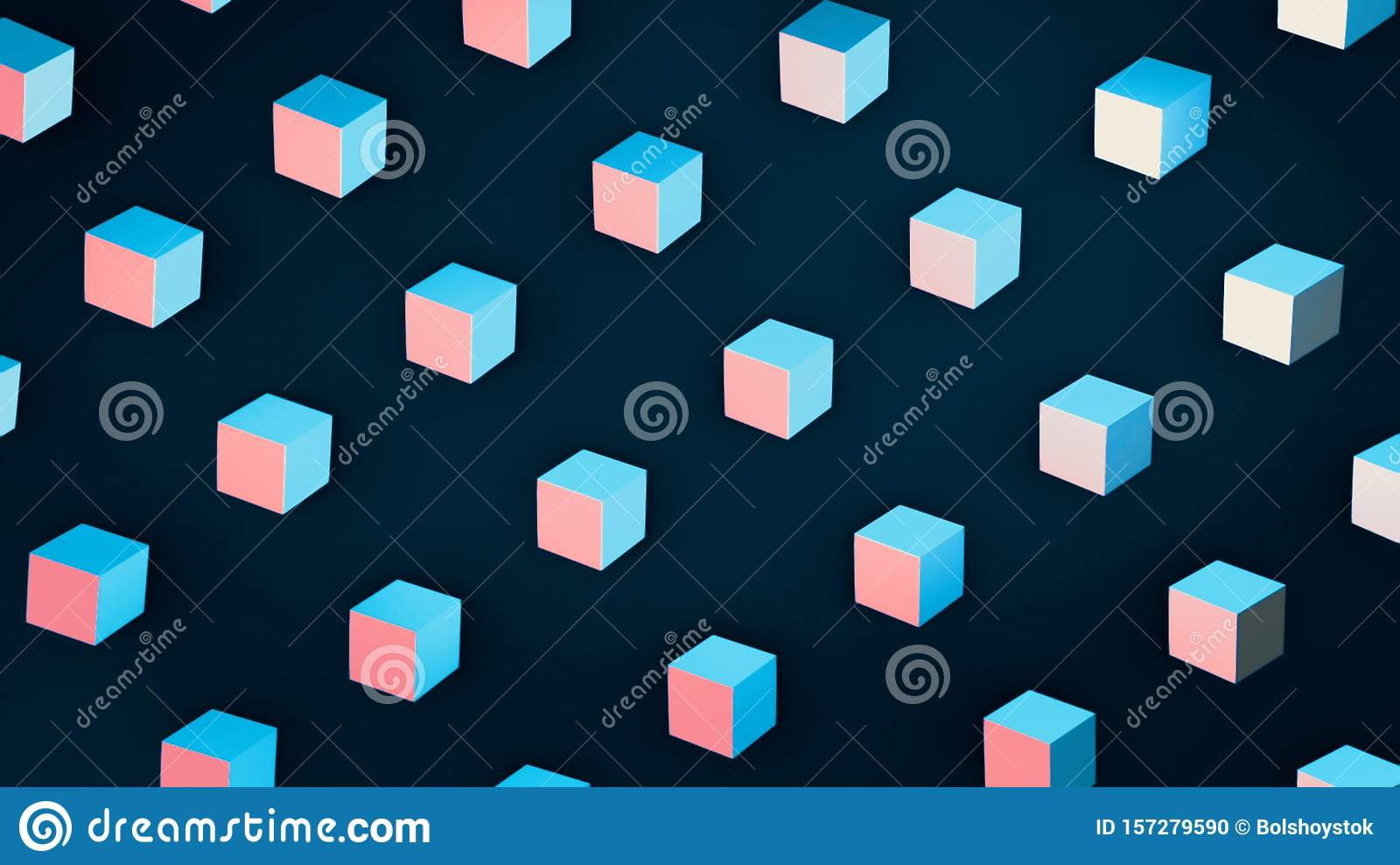 Animation Of 3d Rendering Of White Geometric Shapes Colorful Cartoon Background With Large Number Of Small 3d Cubes Stock Illustration Illustration Of Geometric Branding 157279590