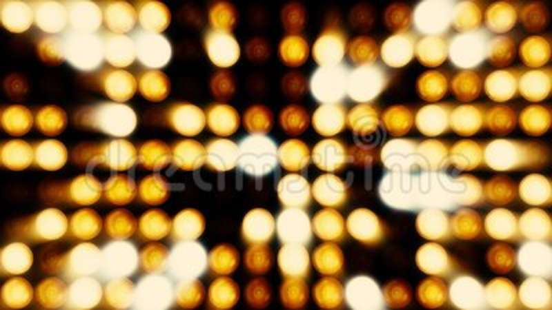Animation of flashing light bulbs on led wall or projectors for stage  lights  Bright stage lights flashing bulbs on led