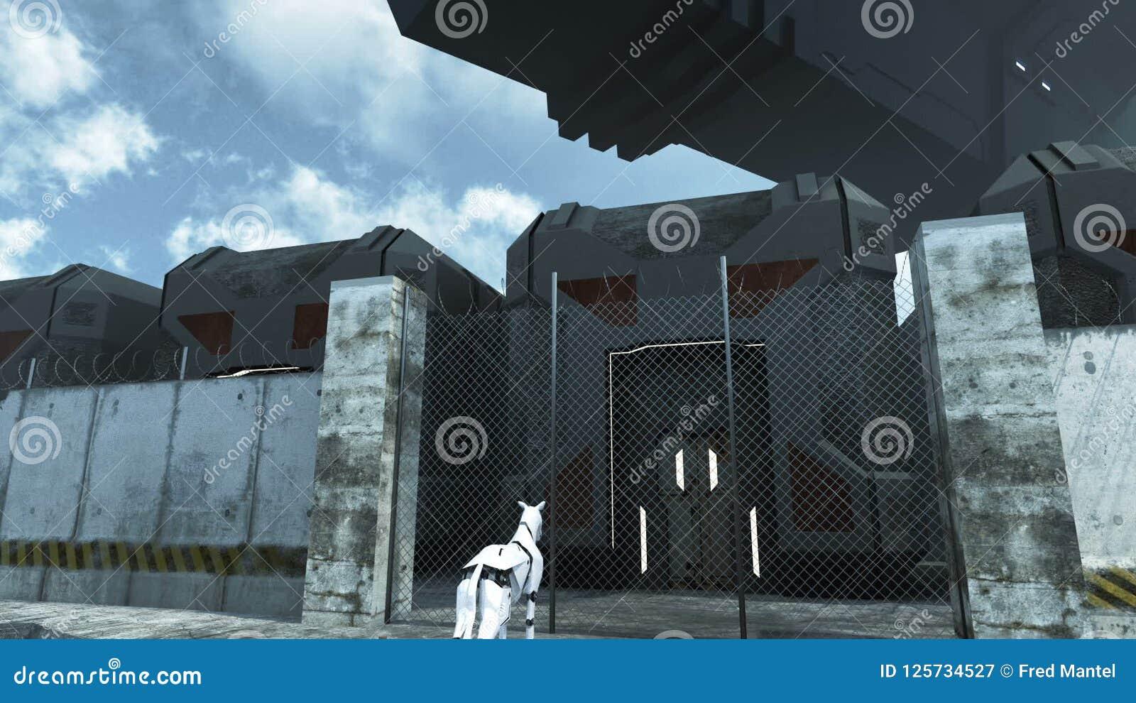 Futuristic Cargo Spaceship Hoovering Over Sci Fi Prison. 3D ...