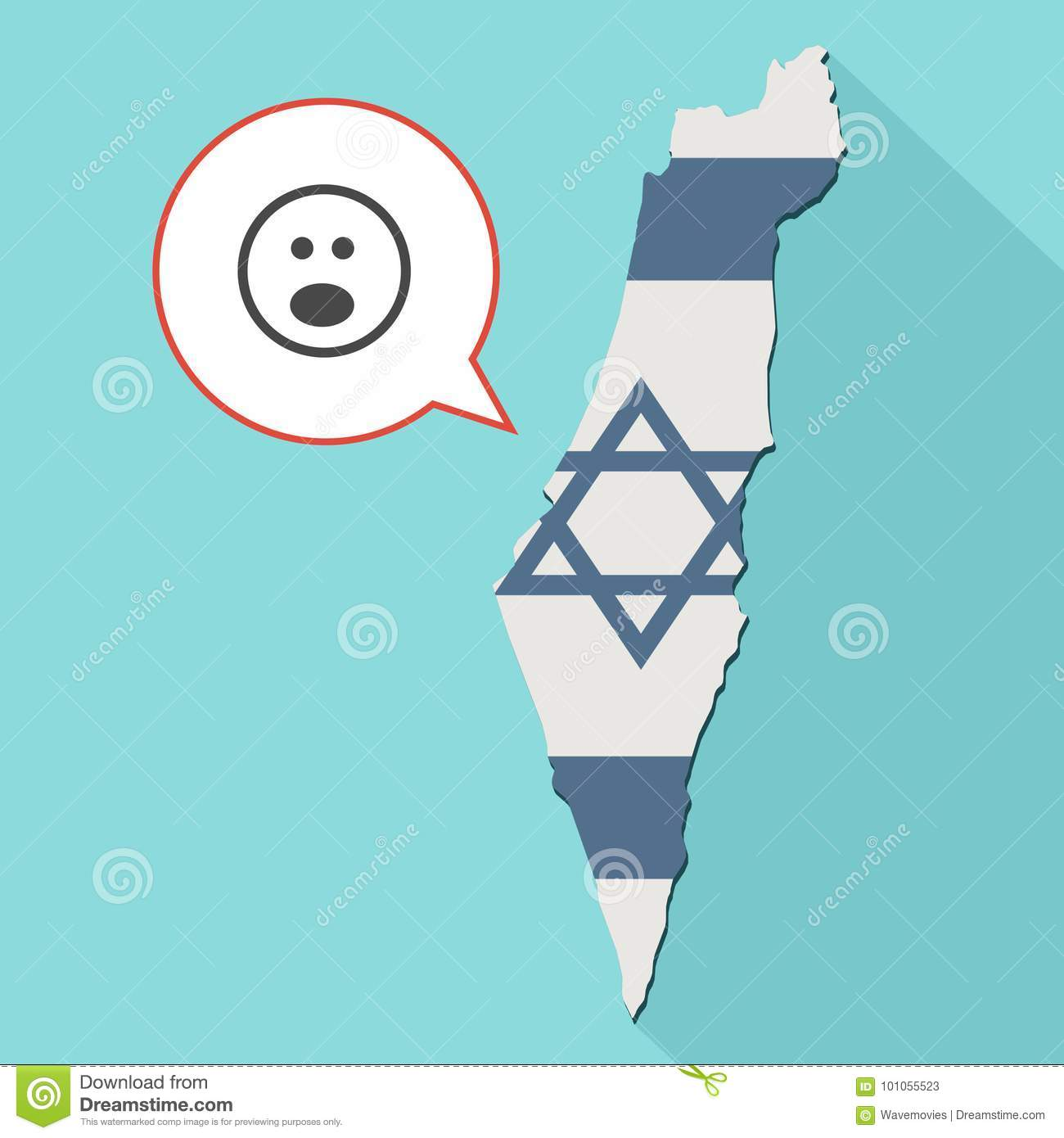 Animation of a long shadow Israel map with its flag and a comic balloon with suprise emoji face
