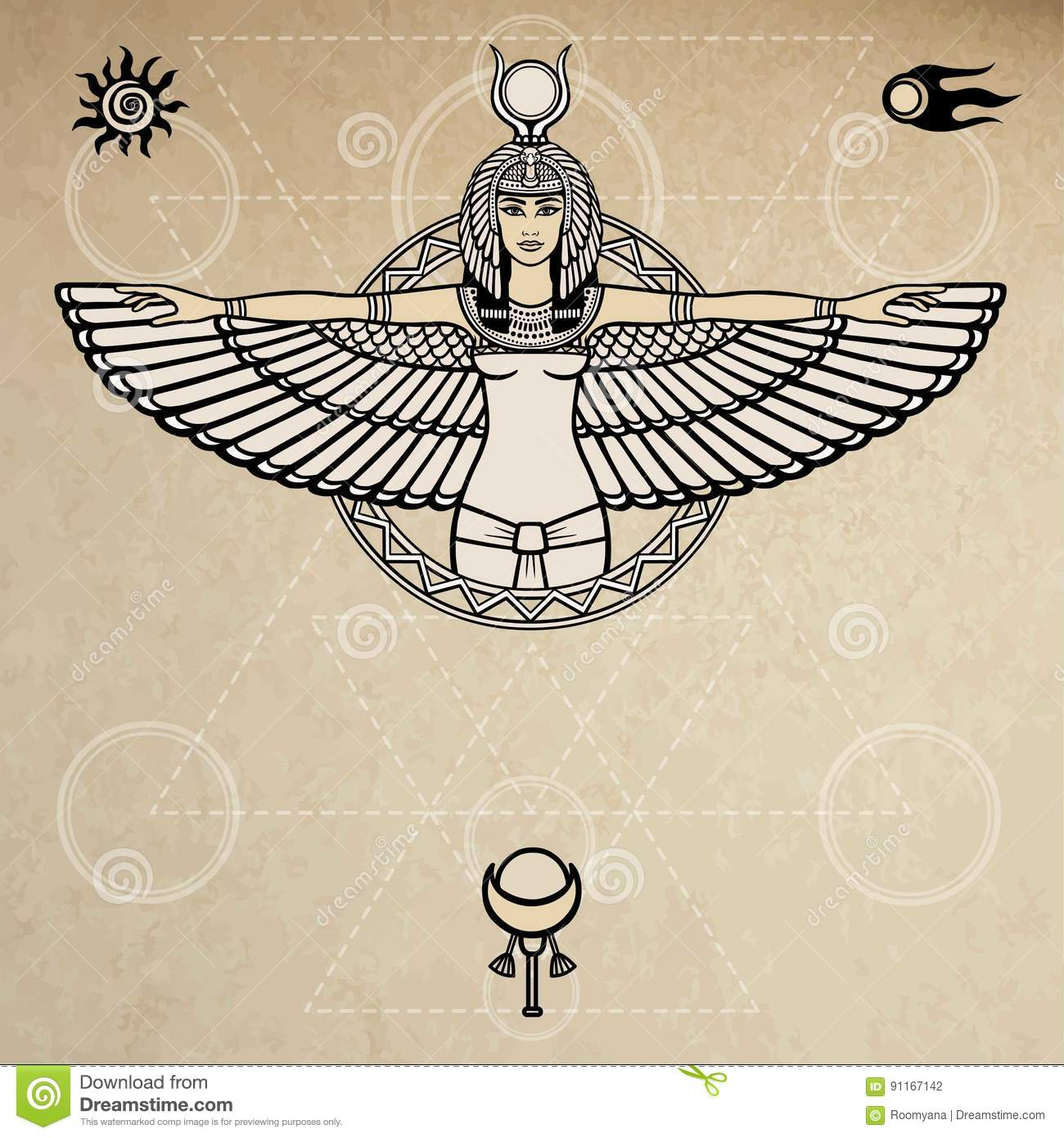 Animation Portrait Of The Ancient Egyptian Winged Goddess Space