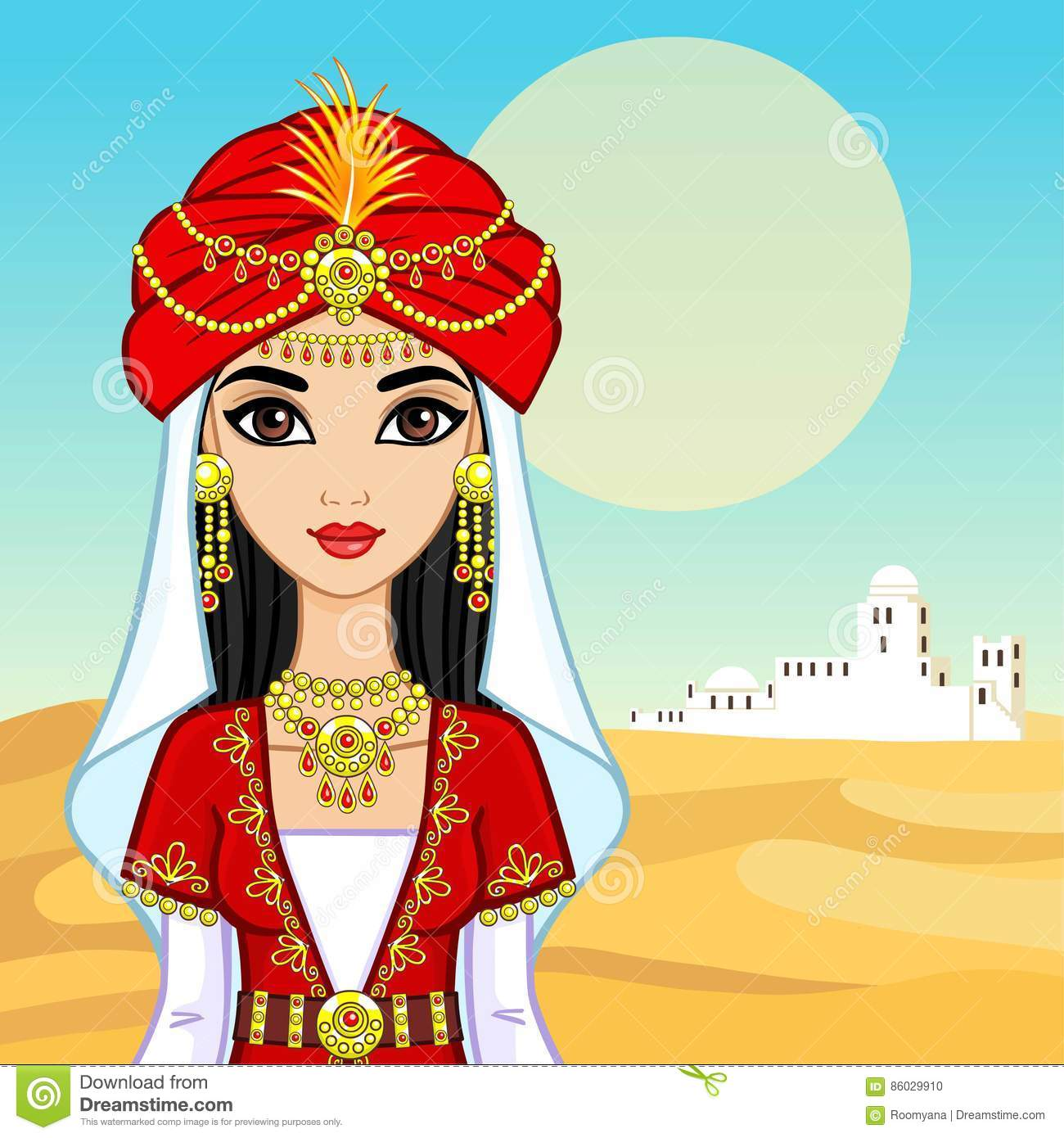 Animation Portrait Of The Arab Princess In Ancient Clothes ...