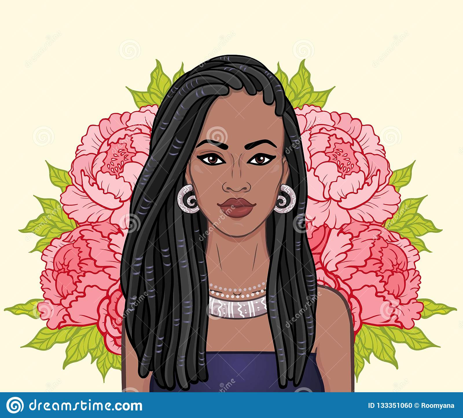 Animation portrait of the beautiful black woman, wreath of flowers.