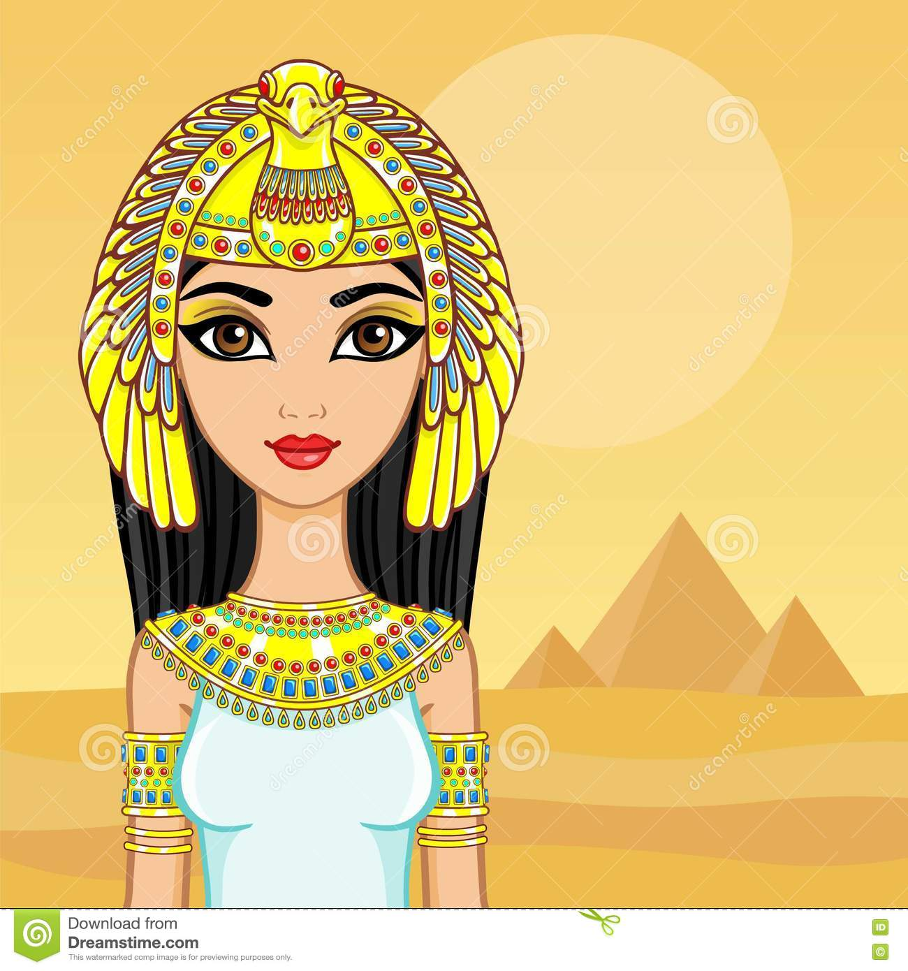 Animation Portrait Of The Egyptian Queen A Background A