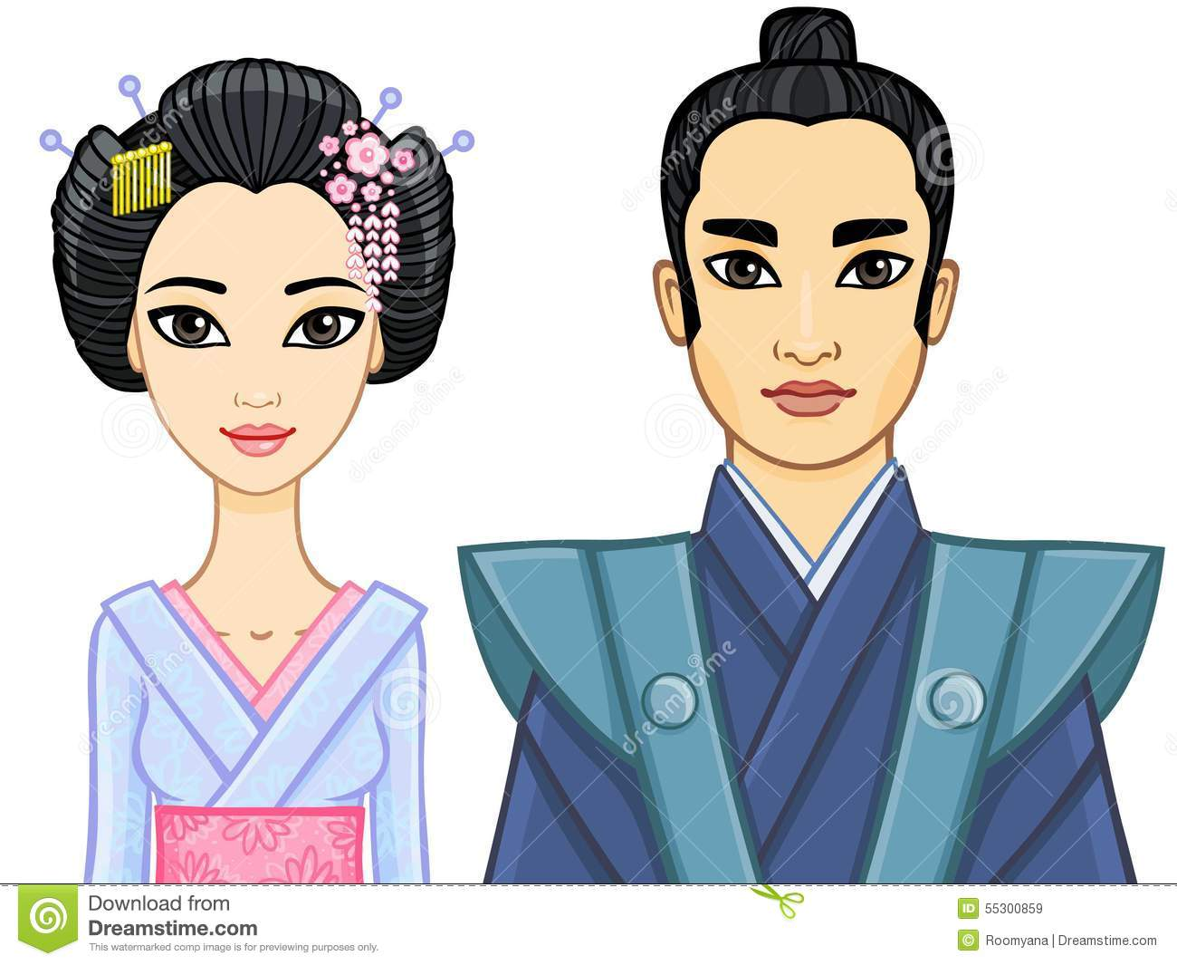Animation Portrait Of A Japanese Family Geisha And