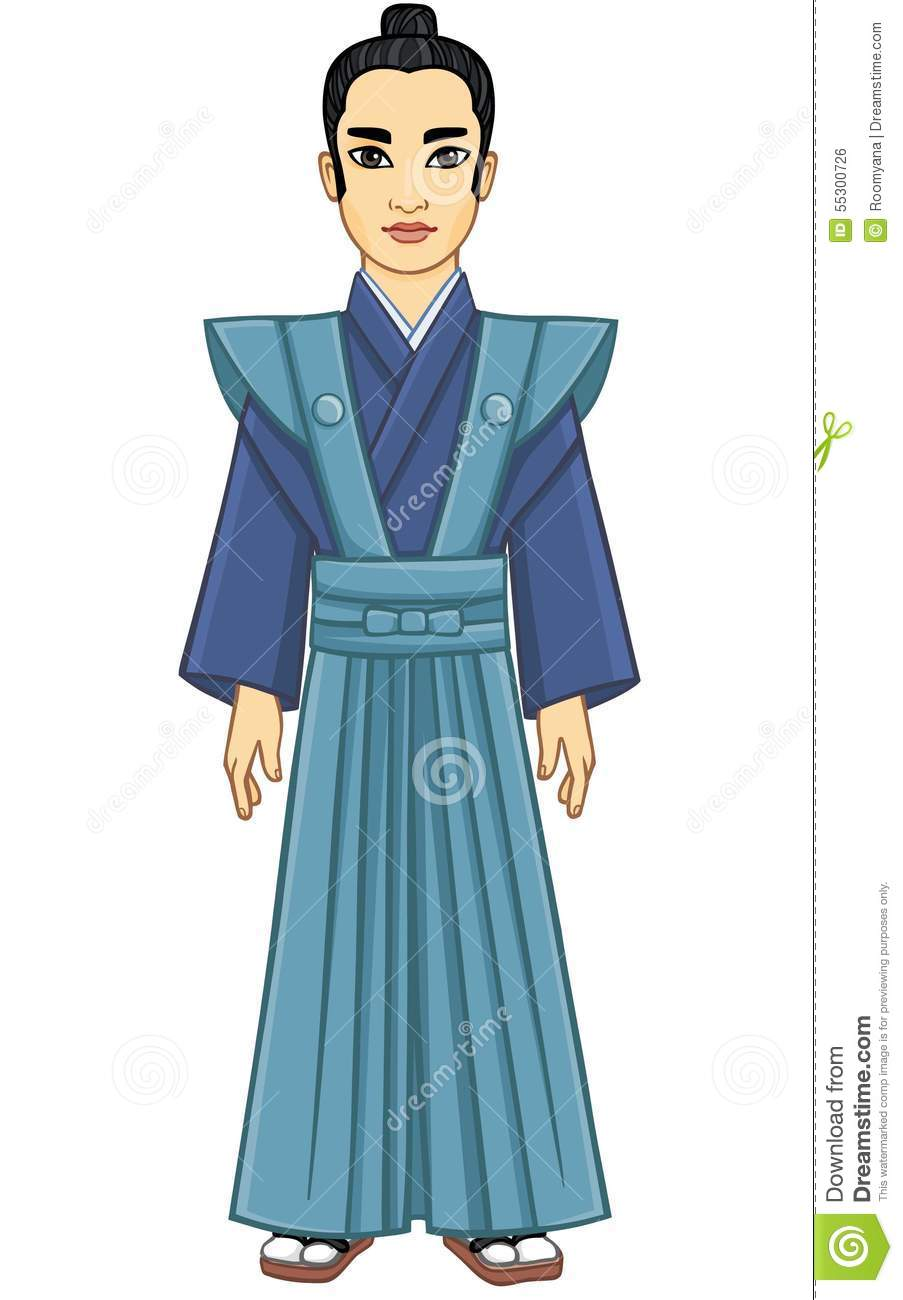 Animation Portrait Of The Japanese Man Of The Samurai