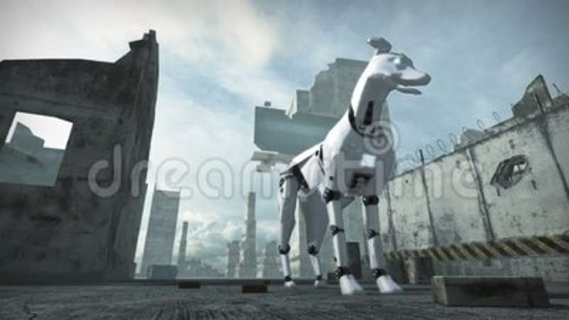 Animation Of A Robot Dog In Ruined City 3d Rendering