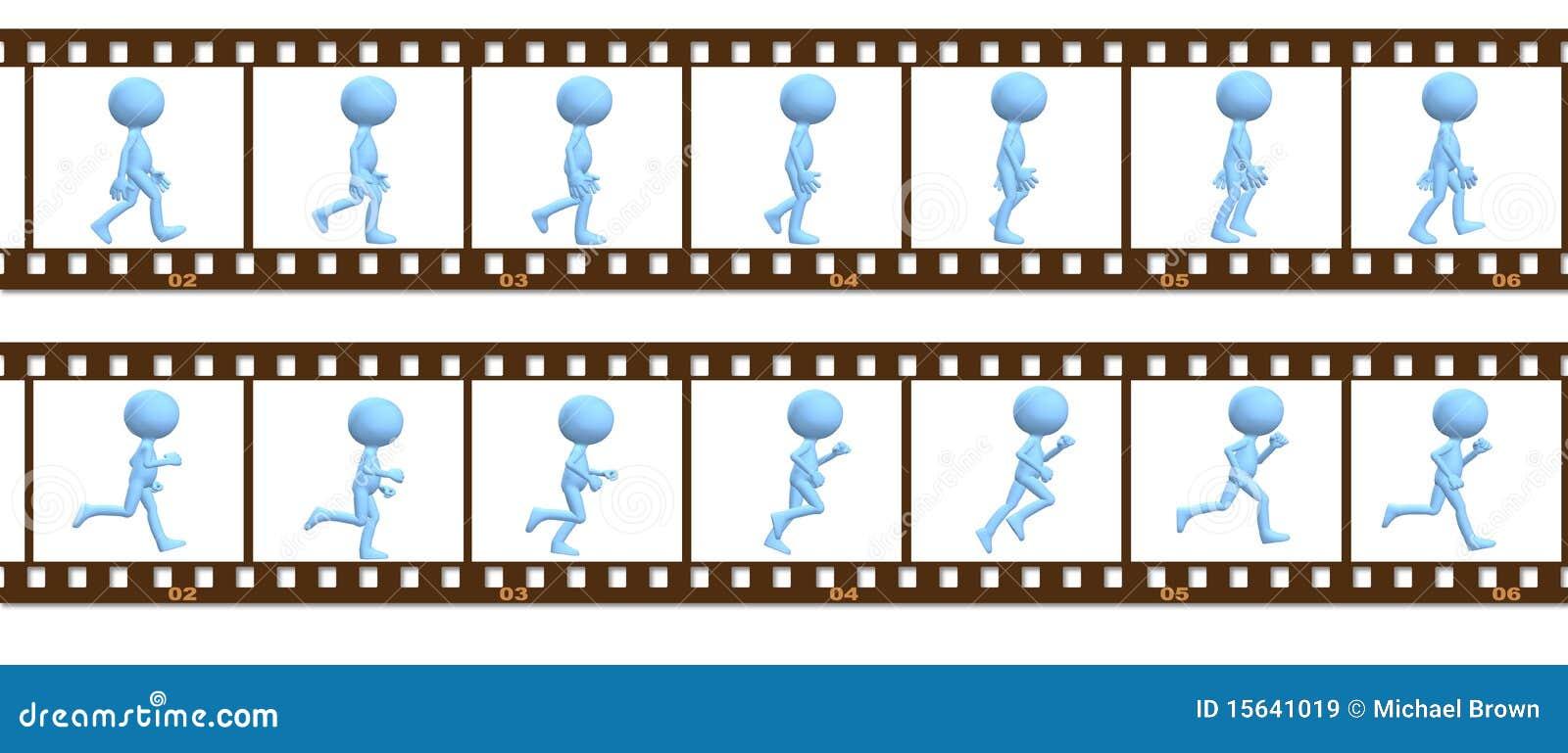 Animation Symbol People Walk Run In Cel Frames Stock Illustration ...