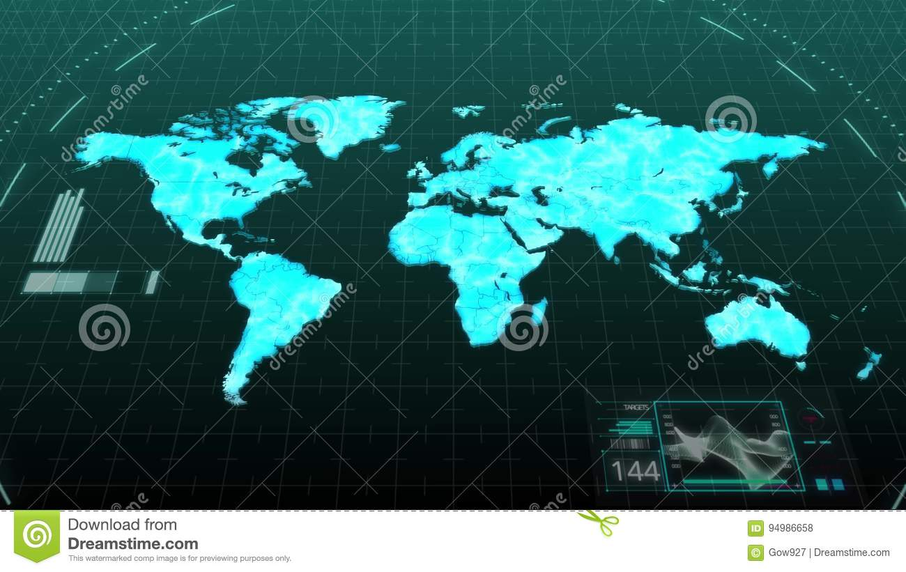 World Map Download For Computer. Animation World Map Showing Major Continents Of America Asia Europe Africa  Australia In Digital Computer Hologram Technology Stock Footage Video of
