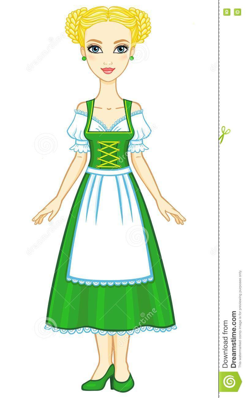 Animation young girl in an ancient Bavarian dress.