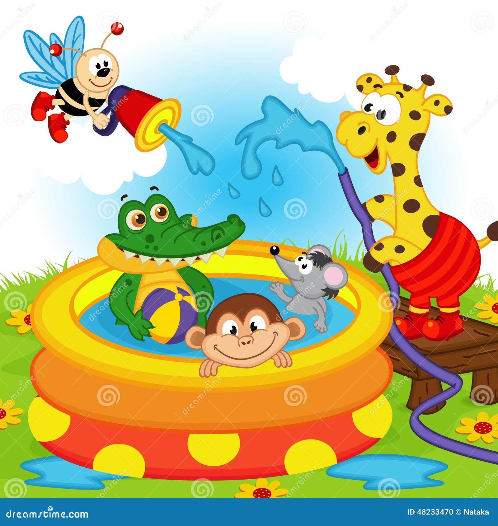 Animaux dans la piscine gonflable illustration de vecteur for Animaux gonflable piscine