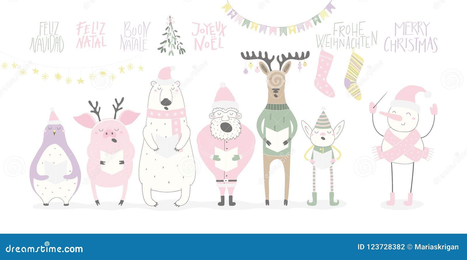 Animaux de chant et carte drôles de Santa Christmas
