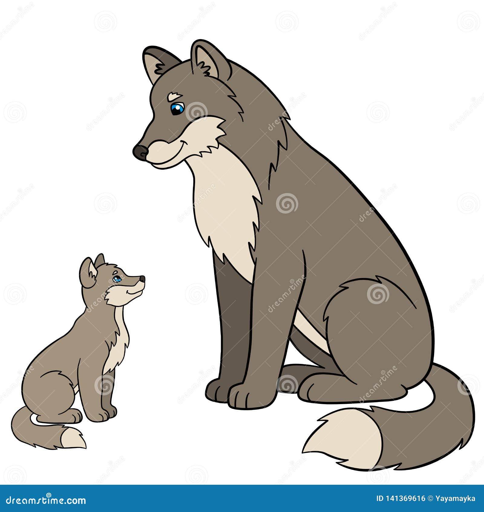 Animaux De Dessin Animé Loup De Père Avec Son Loup Mignon De