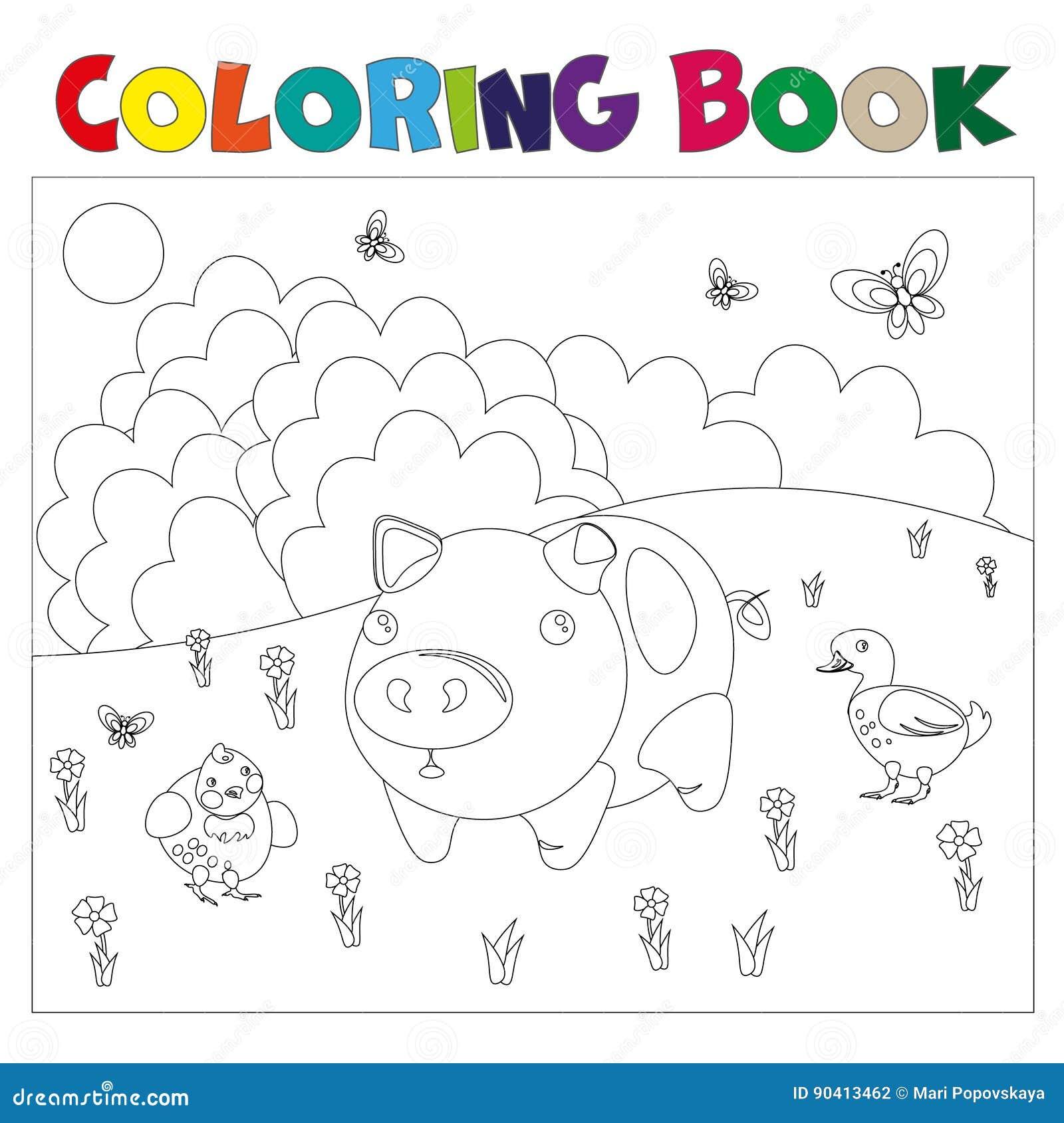 Animaux De Ferme Pour Livre De Coloriage Illustration De