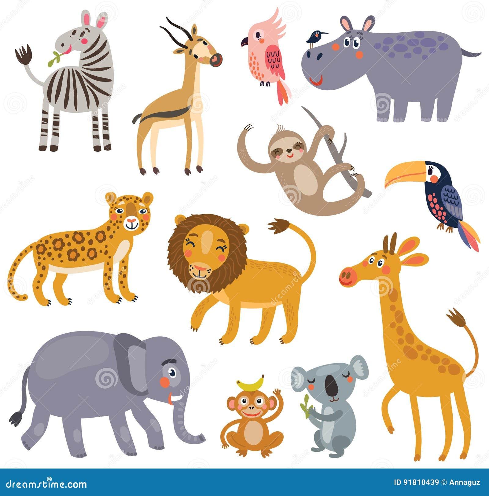 Animaux de la jungle ensemble de vecteur de caract res illustration de vecteur illustration du - Decoration animaux de la jungle ...