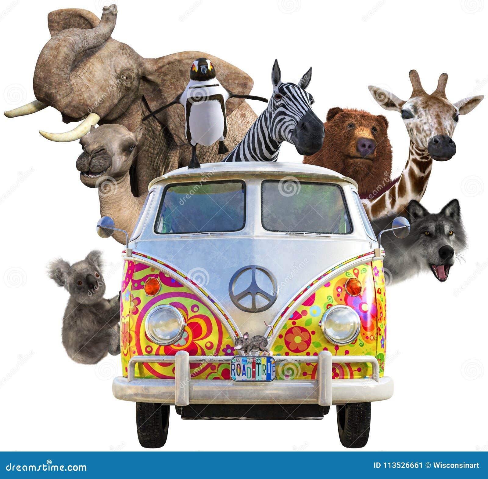 Animaux drôles de faune, voyage par la route, d isolement