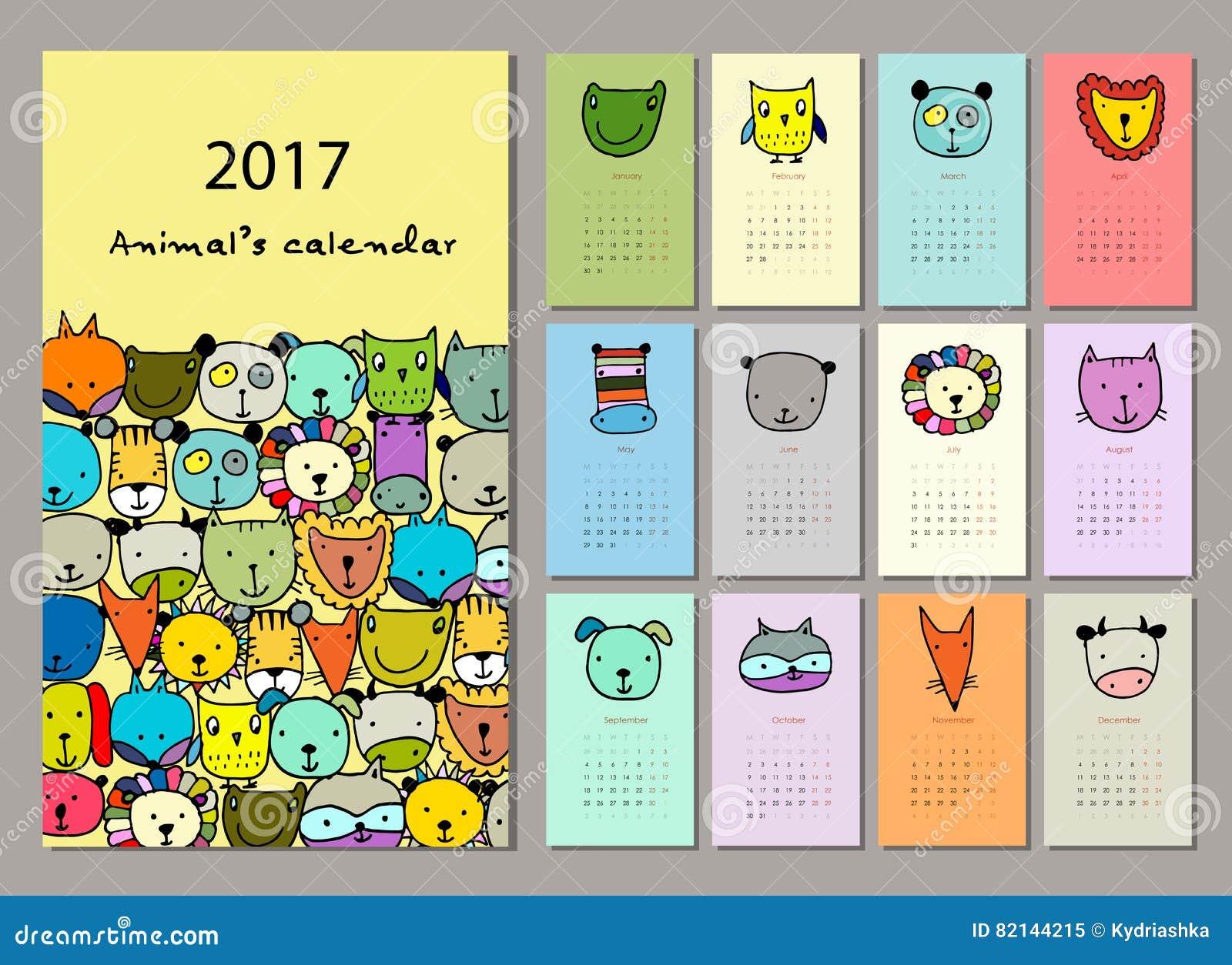 Animaux dr les conception du calendrier 2017 illustration - Calendrier design ...