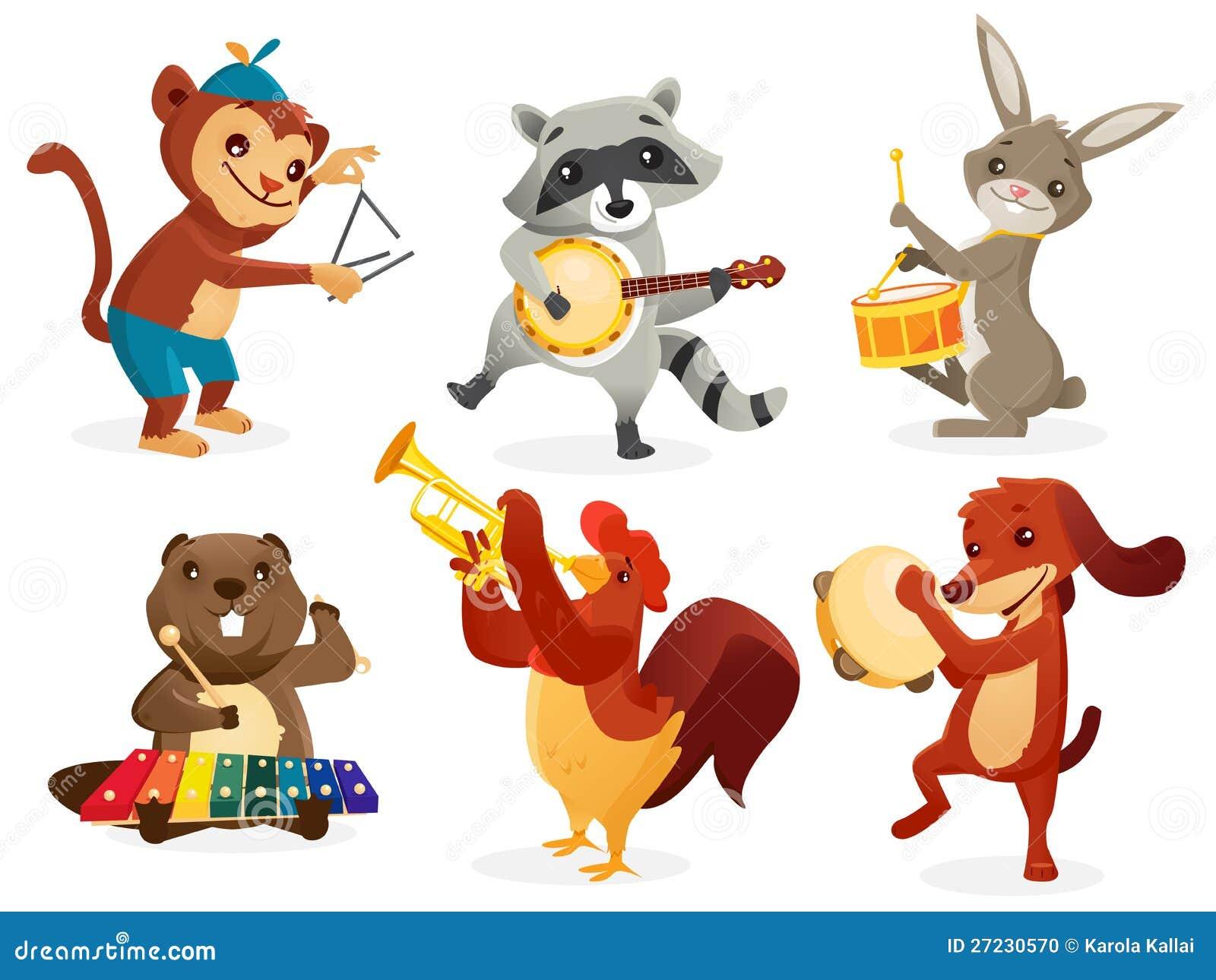 Animaux Jouant Des Instruments Illustration Stock