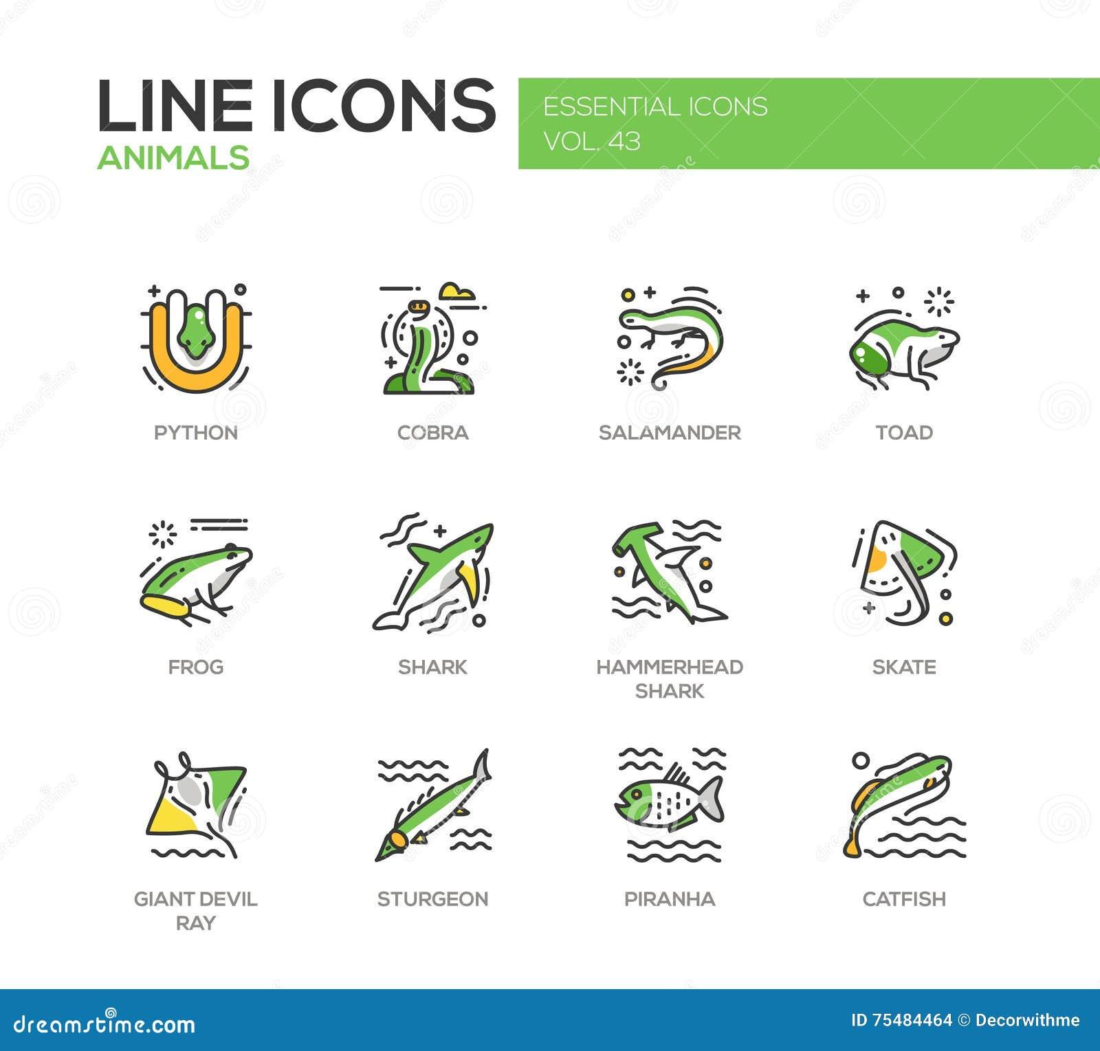 Animaux - ligne icônes de conception réglées