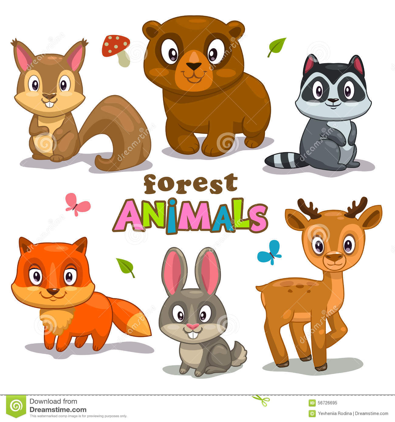 Animaux mignons de for t de dessin anim illustration stock image 56726695 - Dessin de foret ...