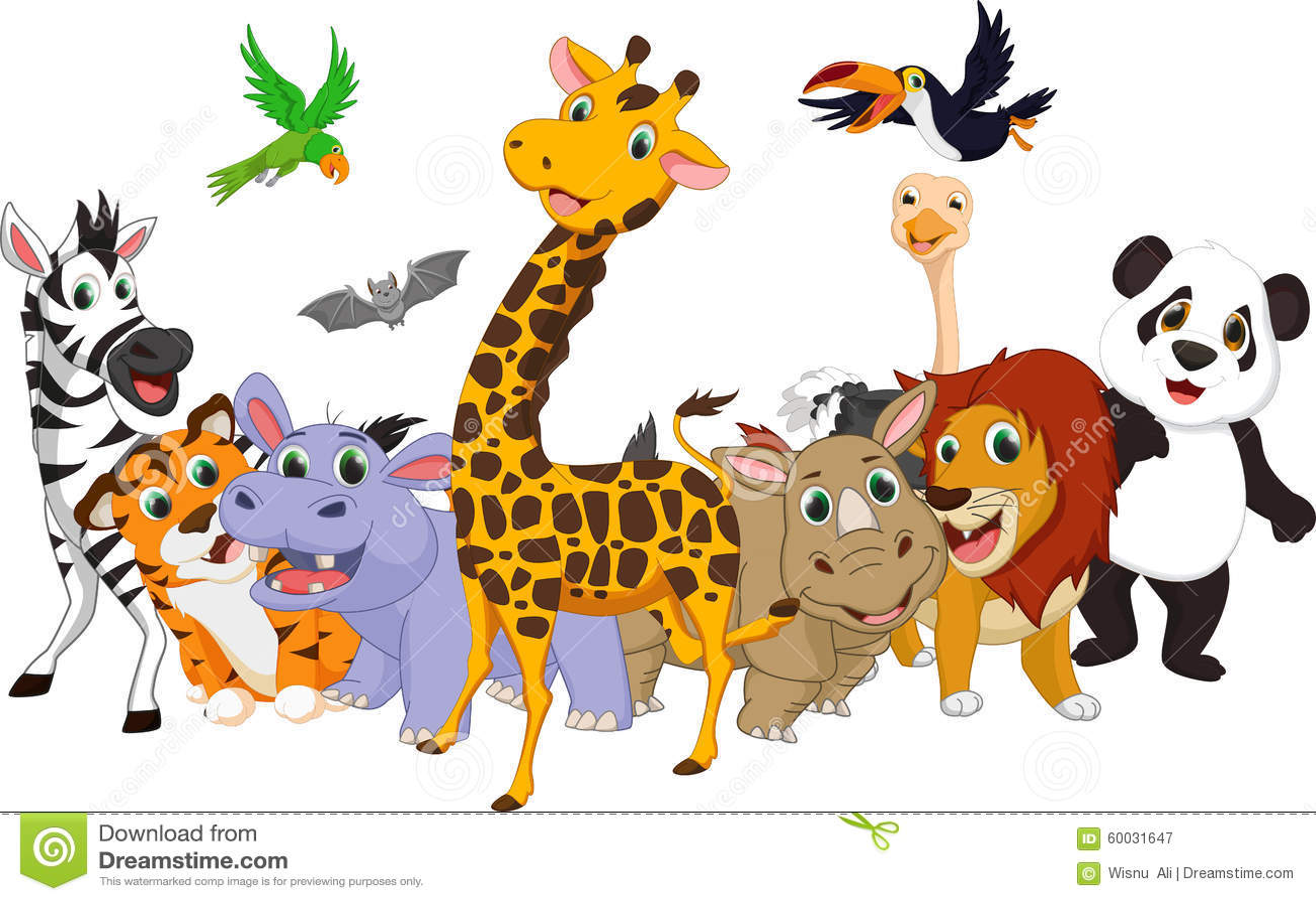 Animaux sauvages de dessin anim illustration de vecteur - Dessin animaux sauvages ...