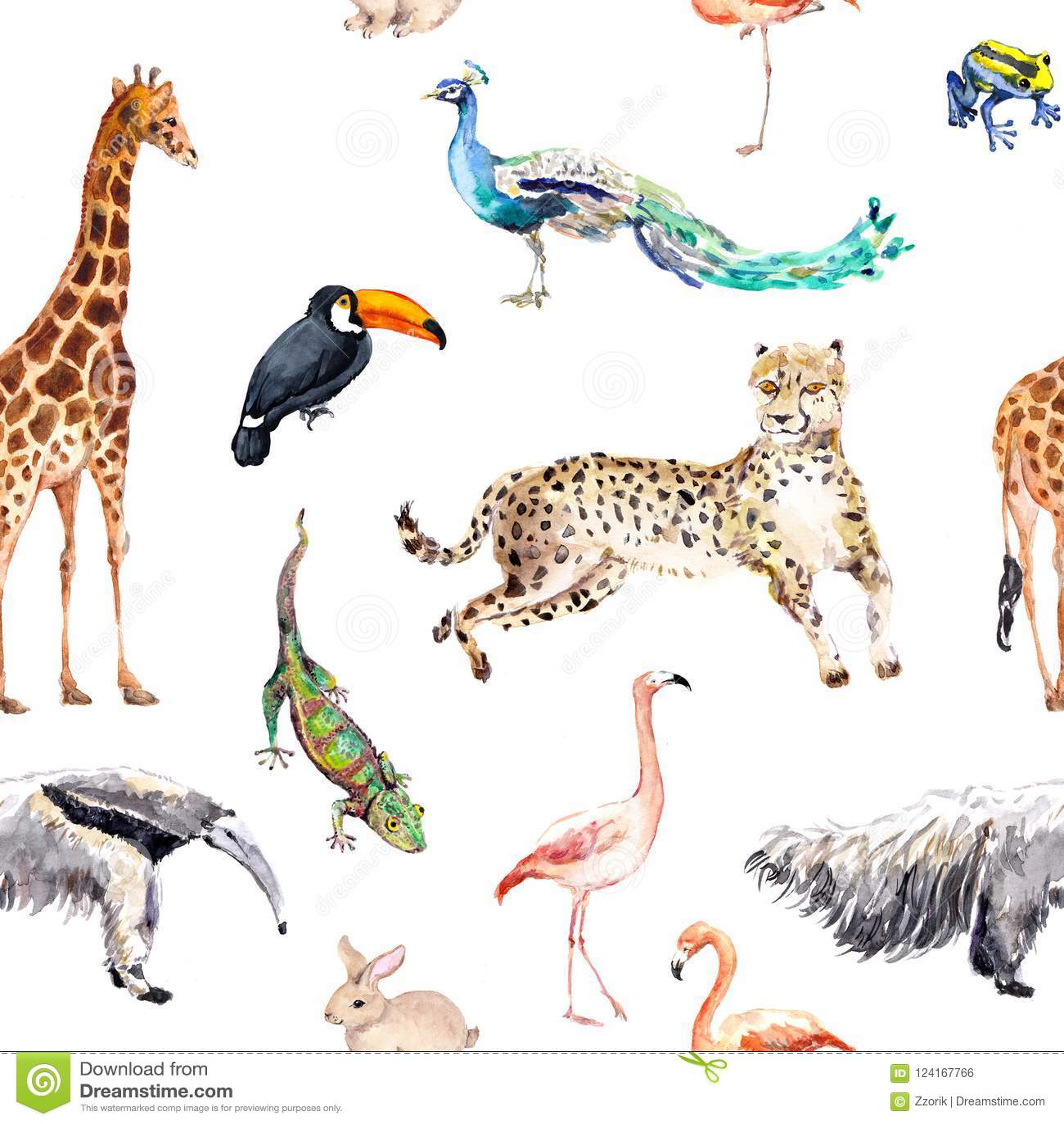 Animaux sauvages et oiseaux - zoo, faune - girafe, guépard, toucan, flamant, autre Configuration sans joint watercolor