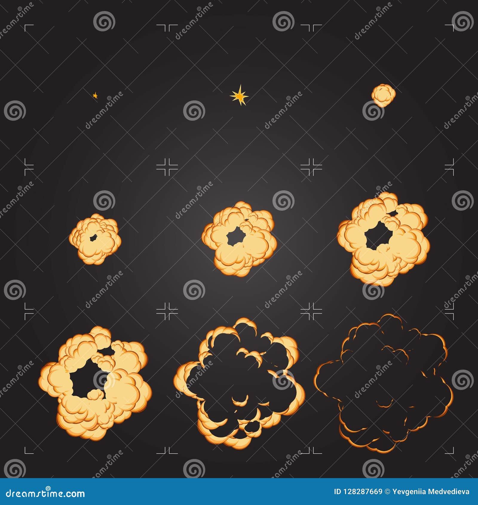 Animazione dello strato di Sprite di esplosione del fumetto Elemento di progettazione per il gioco o l animazione