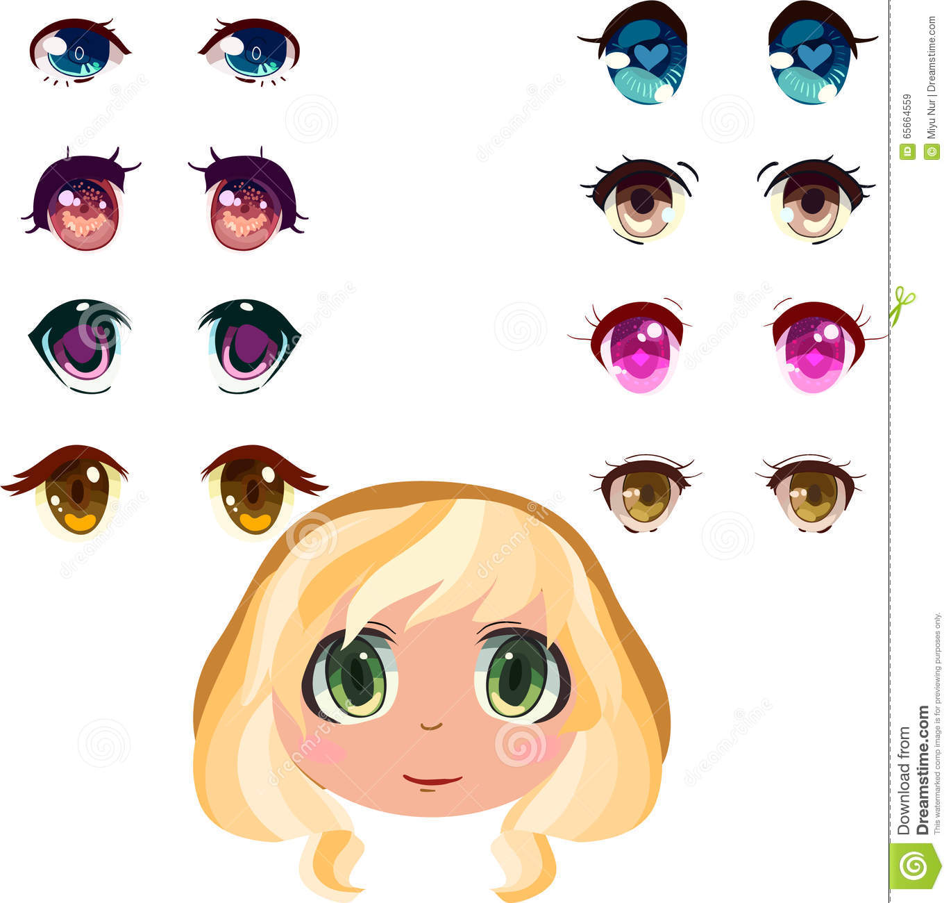 Anime Eyes Set Stock Vector Illustration Of Pink Purple 65664559