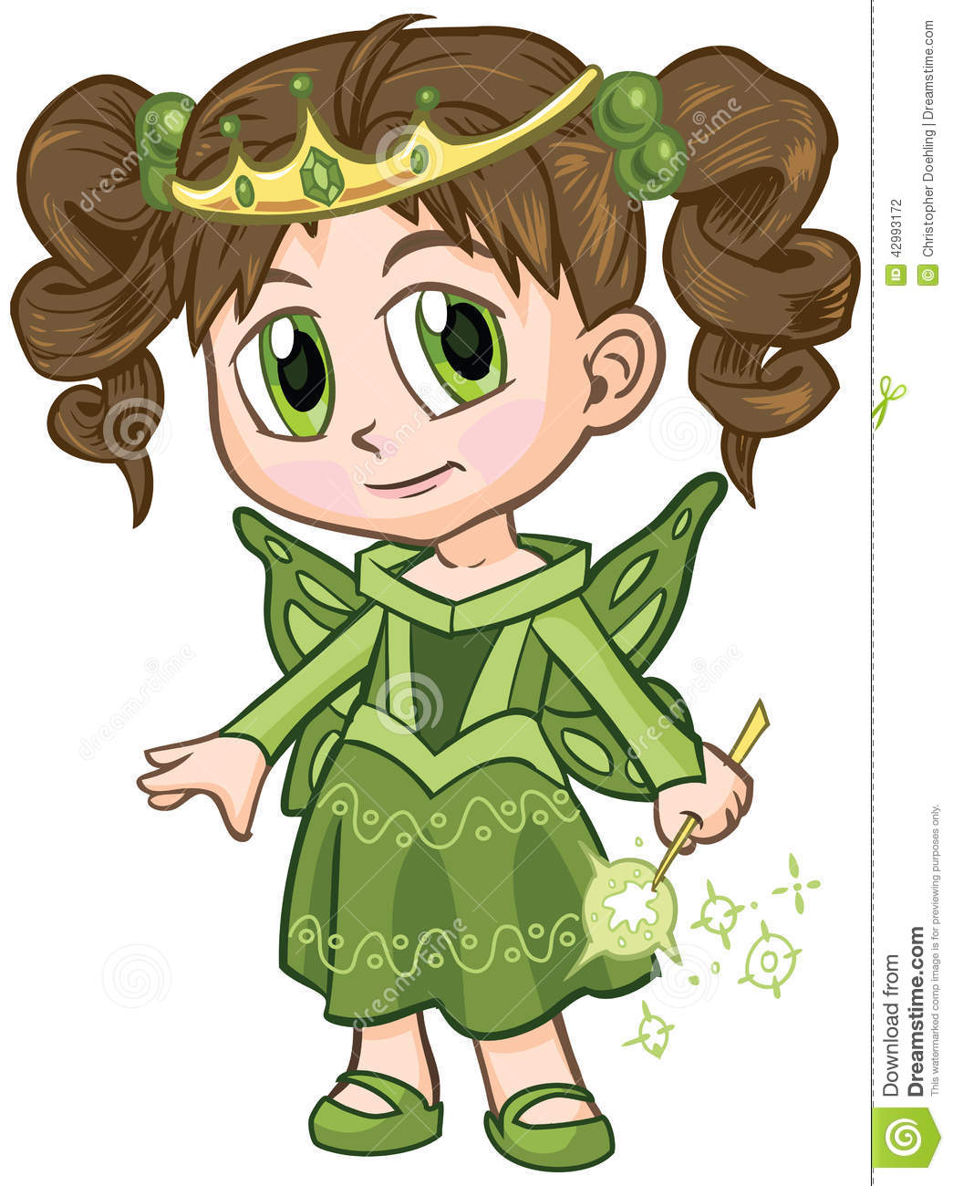 Vector clip art illustration of a brown haired girl wearing a fairy ...