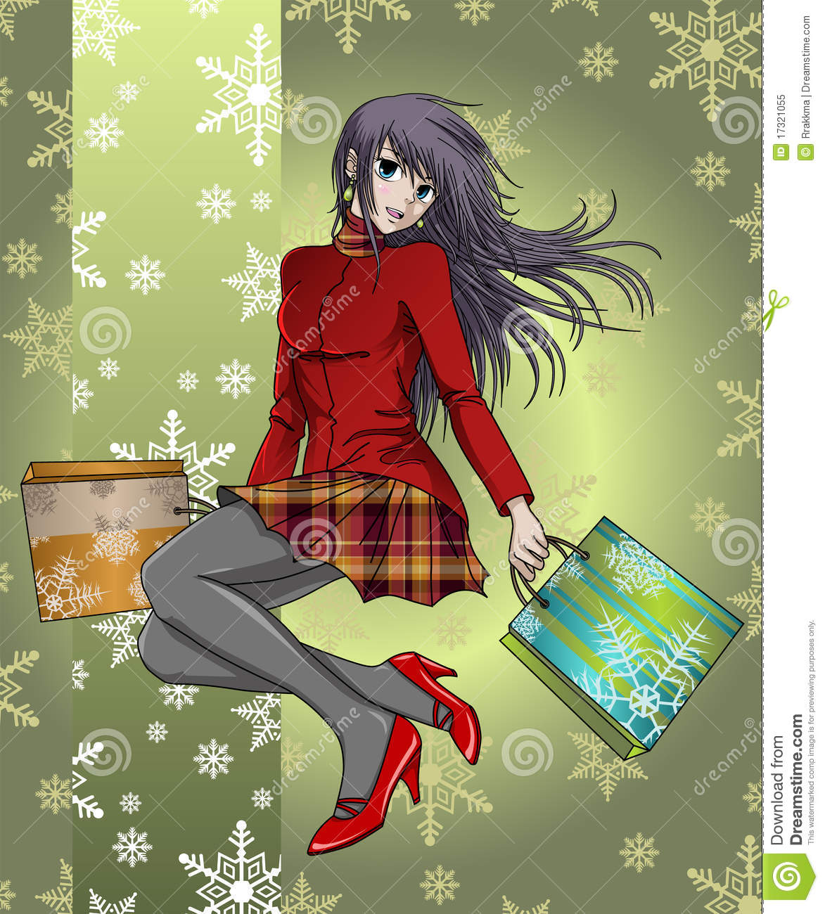 anime girl shopping in christmas - with background stock illustration