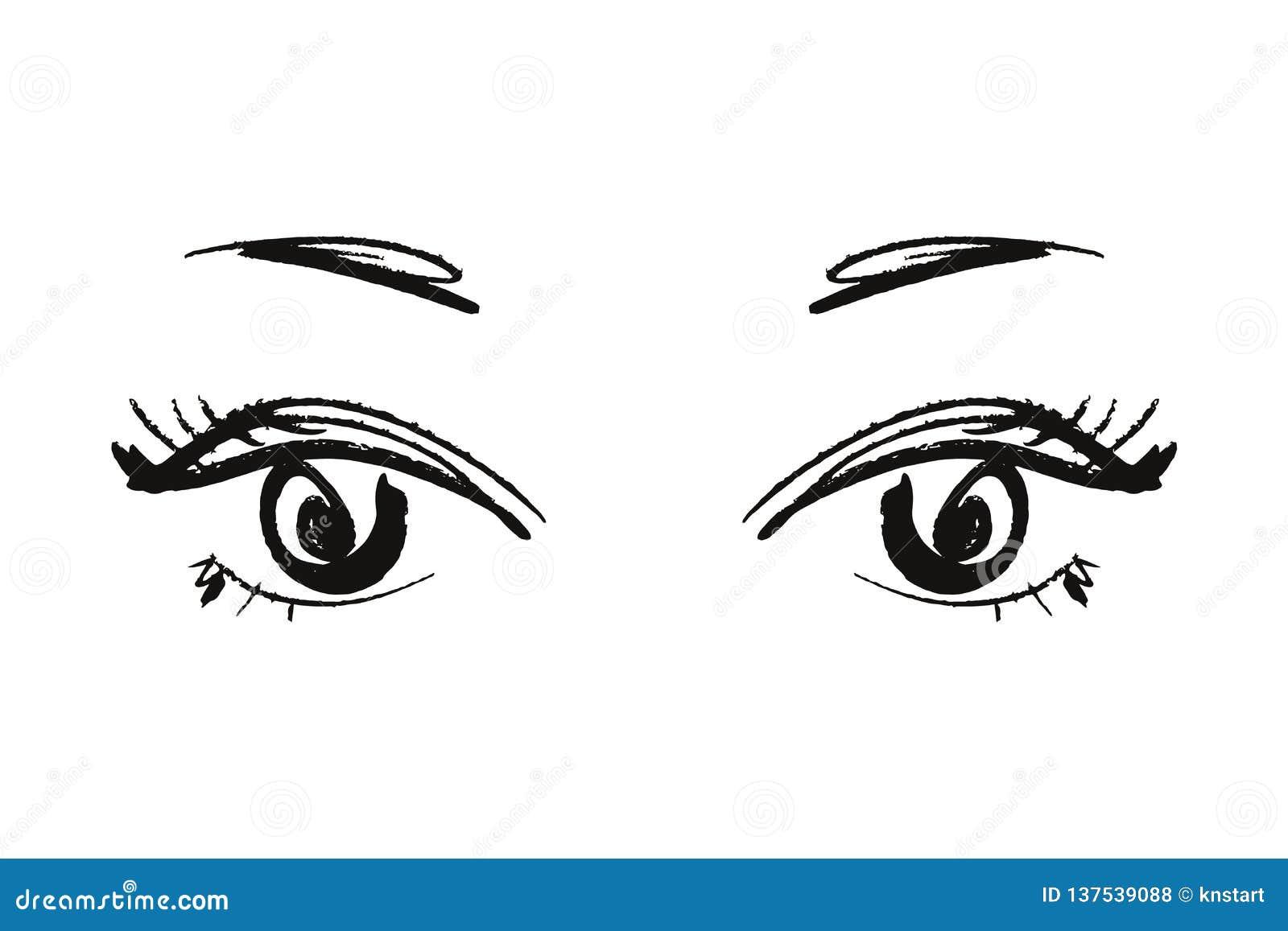 Anime Or Manga Kawaii Eyes Hand Drawn Brush Sketch Eps Illustration