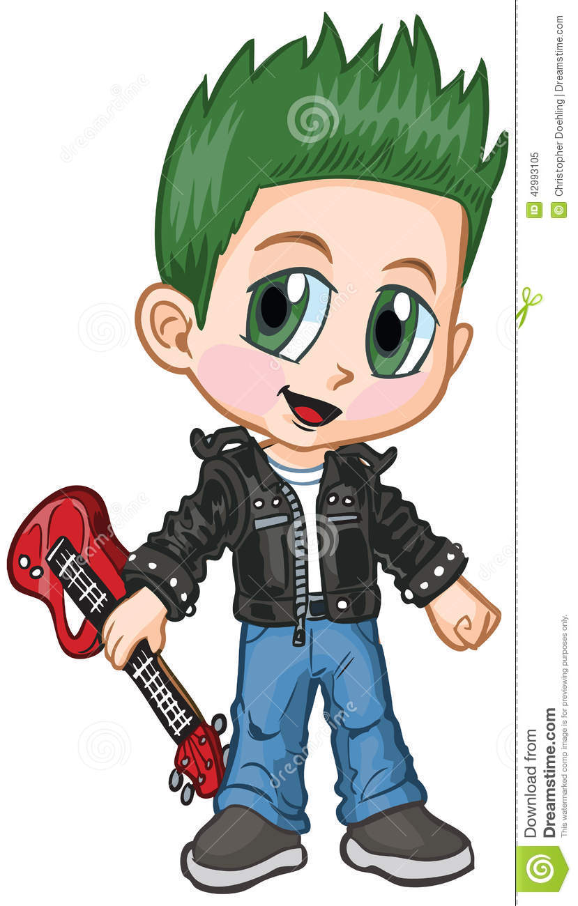 Vector cartoon clip art of a caucasian boy in a punk rocker costume ...