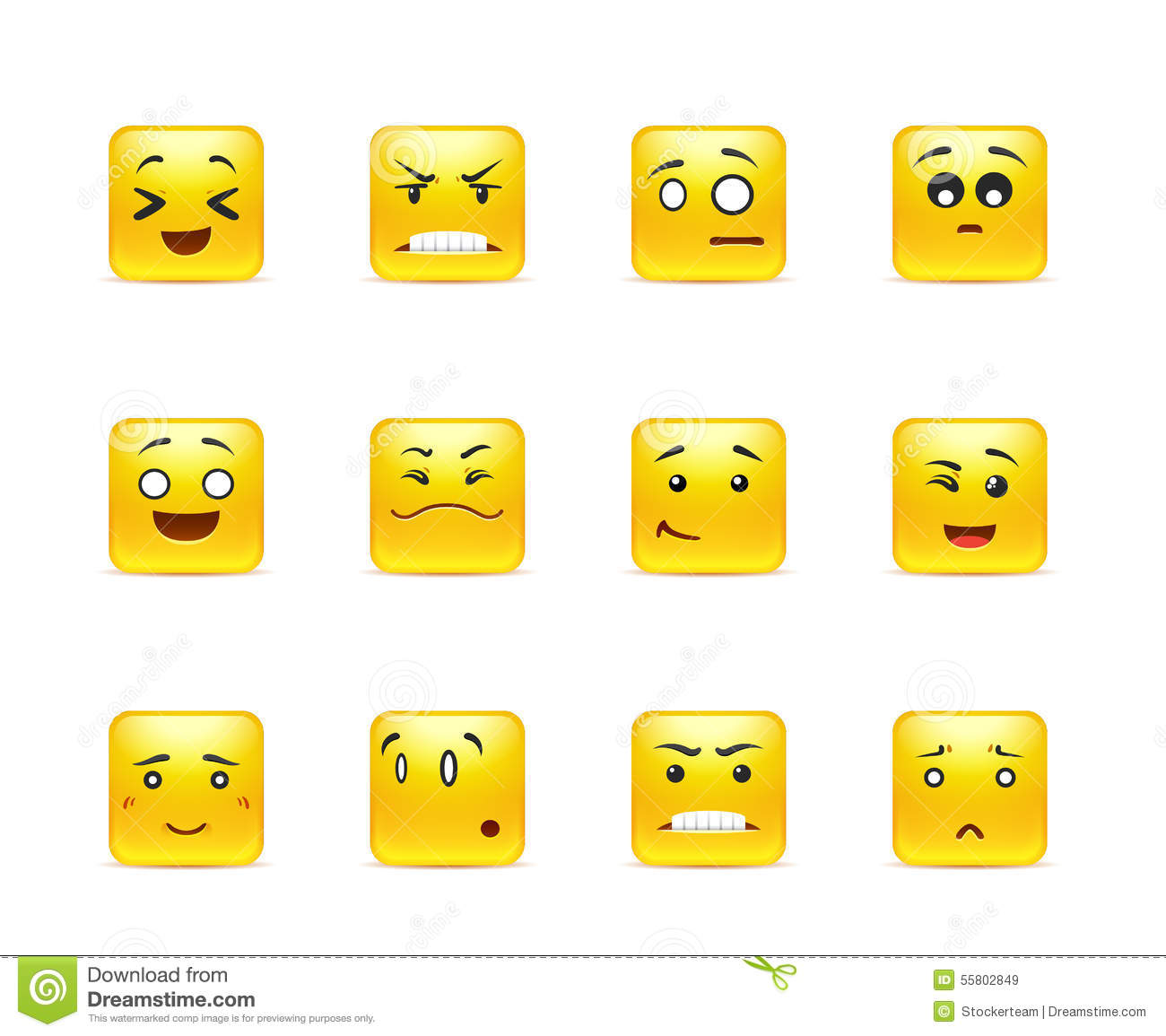 Beautiful happy yellow square anime smiley in a small set of