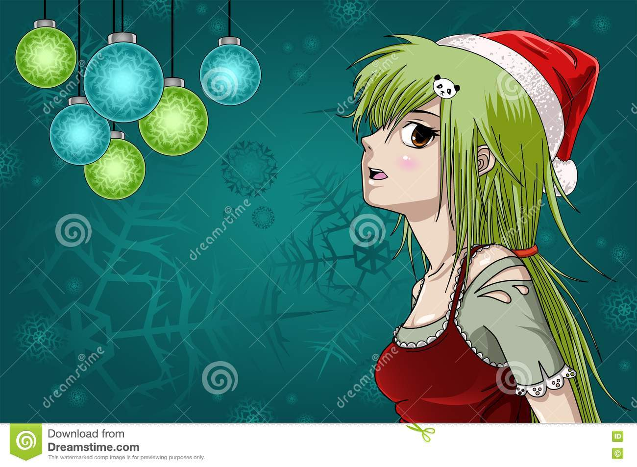 Anime Style Santa Girl With Christmas Background Royalty