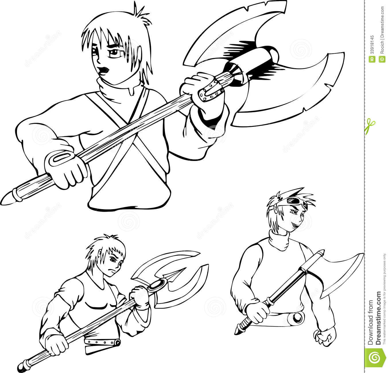 anime warriors with poleaxe stock vector illustration of black