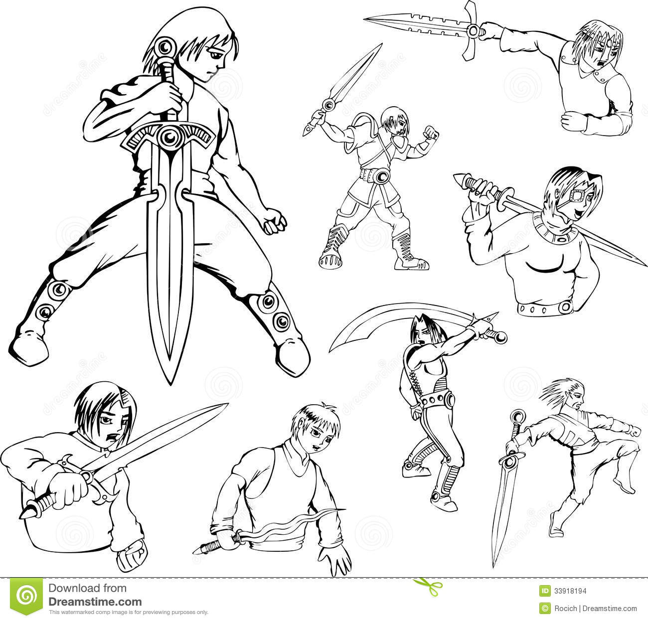 anime warriors with swords stock vector illustration of saber