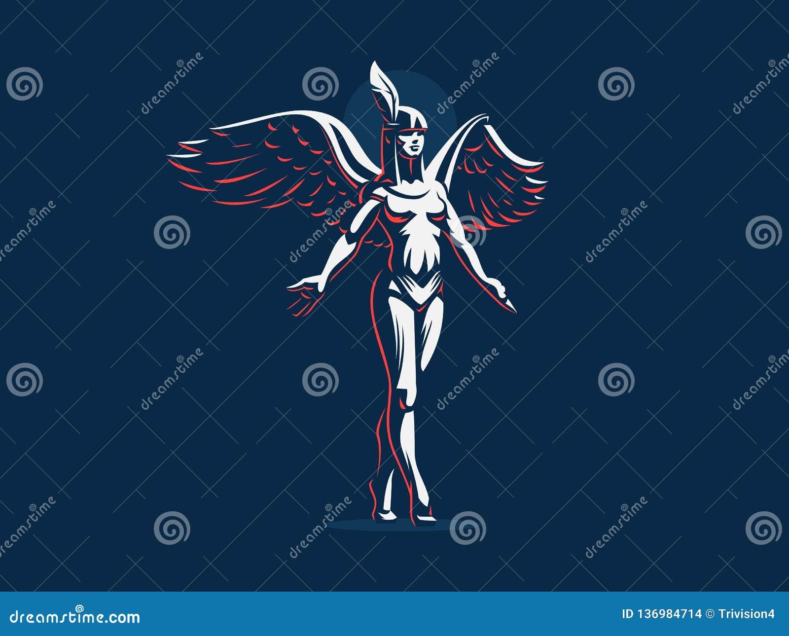 Anioł dziewczyny kroki na tiptoe z rękami rozprzestrzeniają i skrzydła