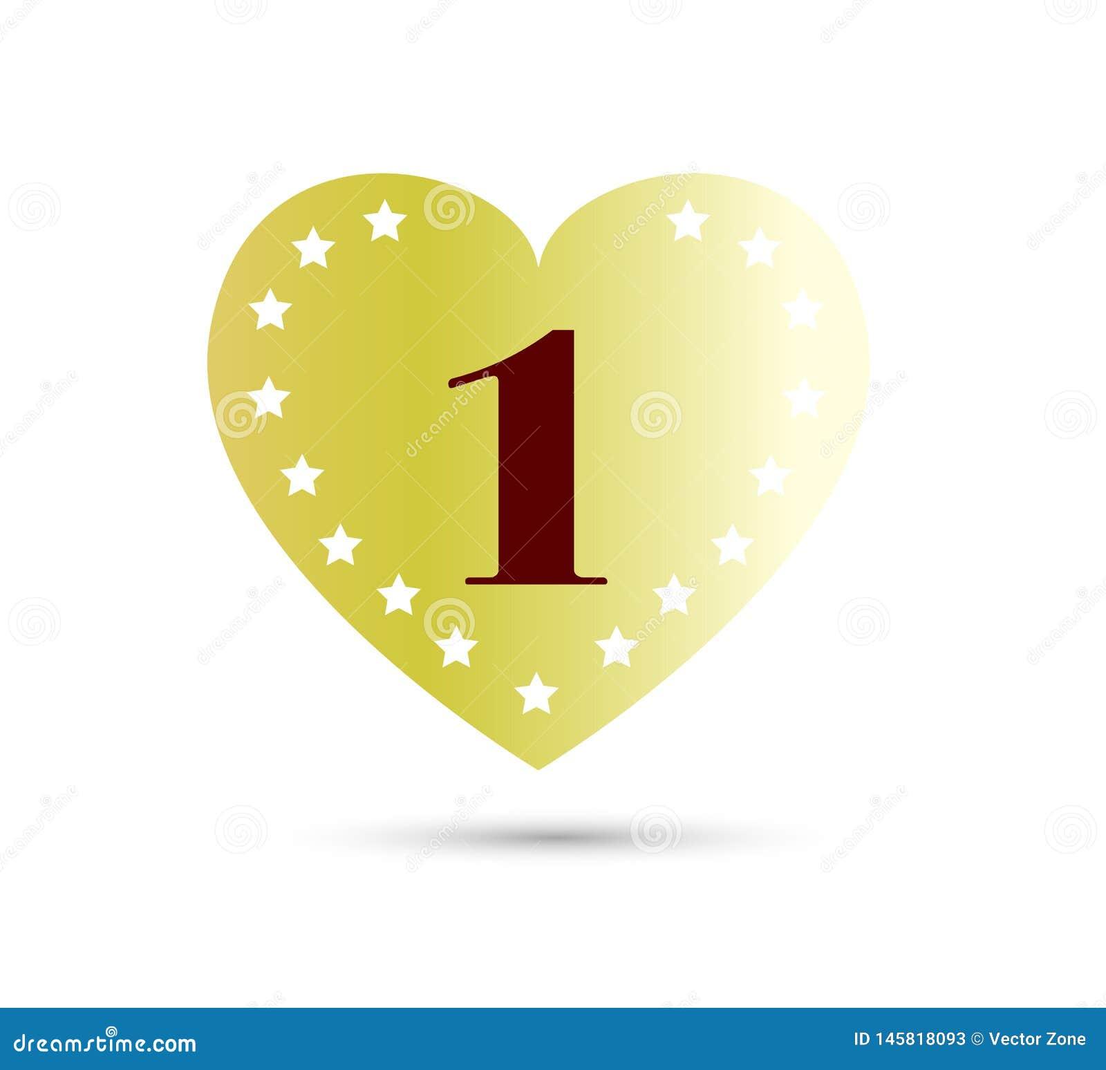 Aniversário, 1 ano com ícone colorido da forma do coração Pode ser usado para a Web, o logotipo, o app m?vel, etc.